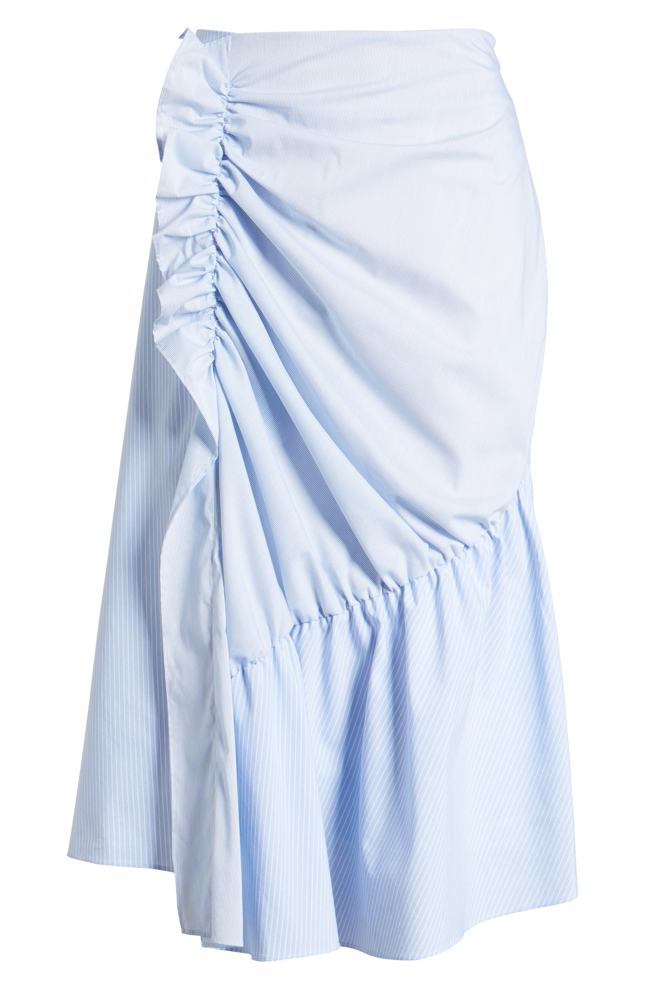 Mixed Stripe Poplin A-Line Skirt,                             Alternate thumbnail 6, color,                             Blue/ White Pinstripe