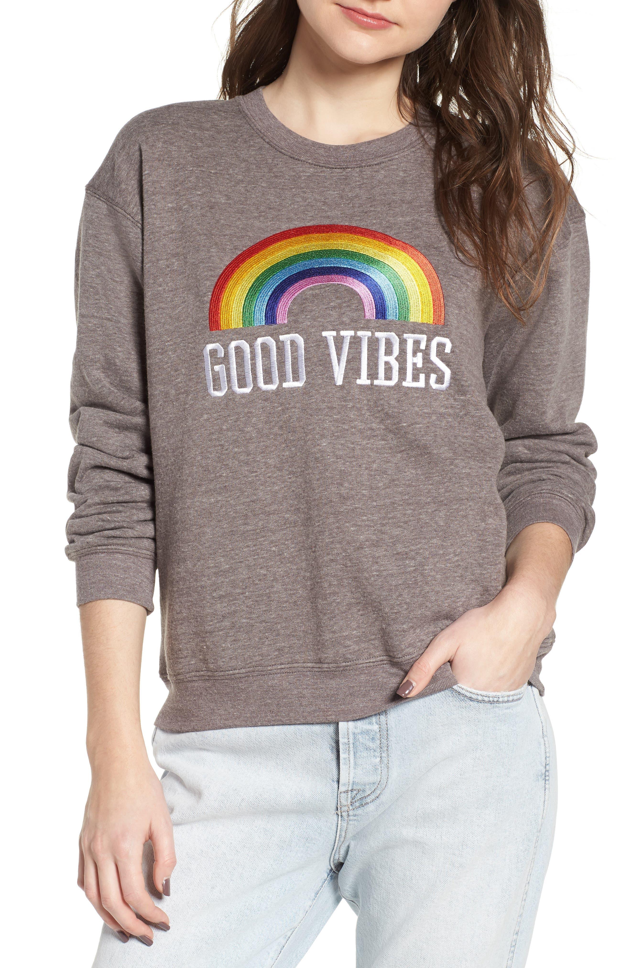 Good Vibes Rainbow Sweatshirt,                             Main thumbnail 1, color,                             Heather Grey