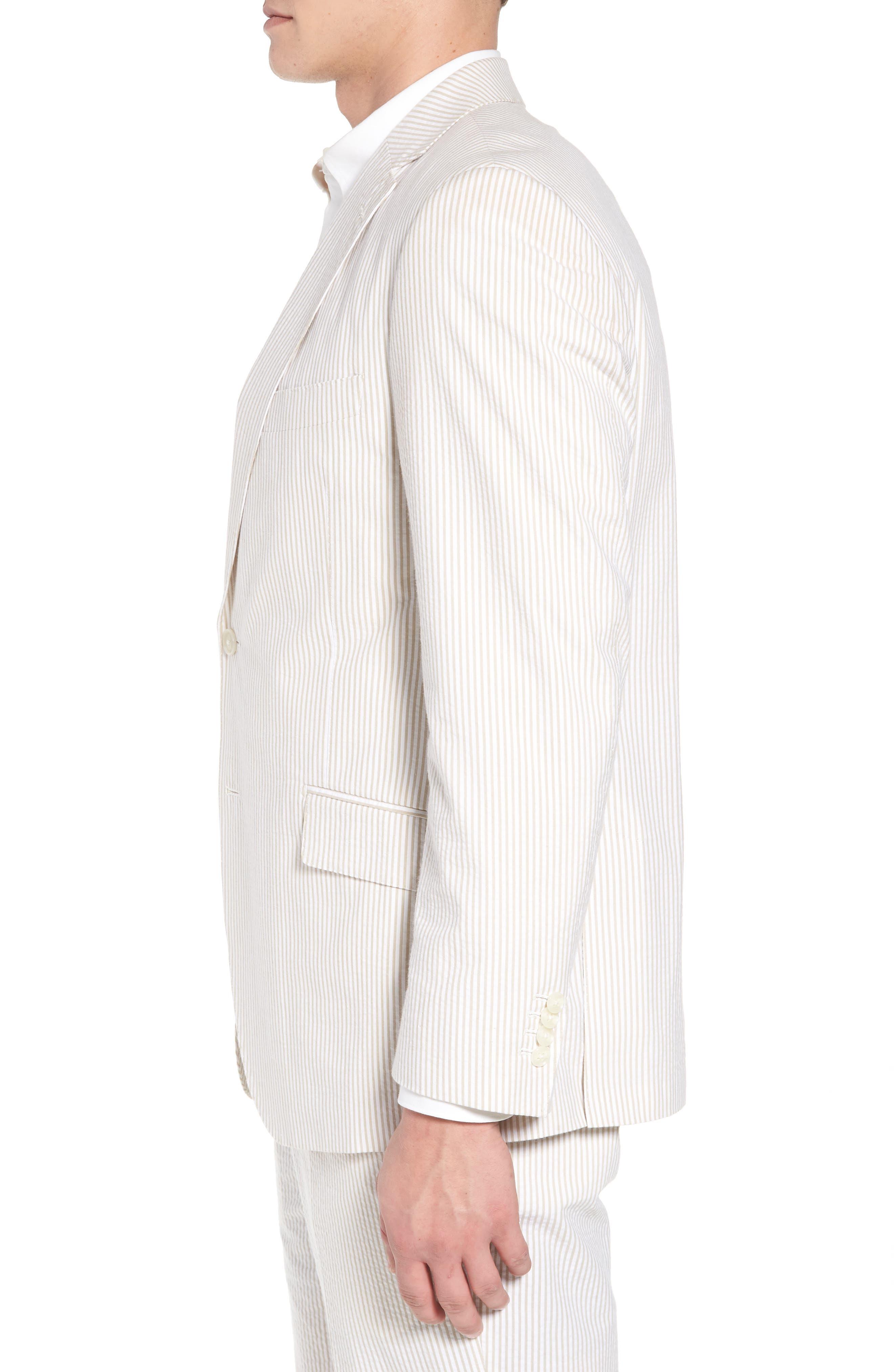Jack AIM Classic Fit Seersucker Sport Coat,                             Alternate thumbnail 3, color,                             Tan And White