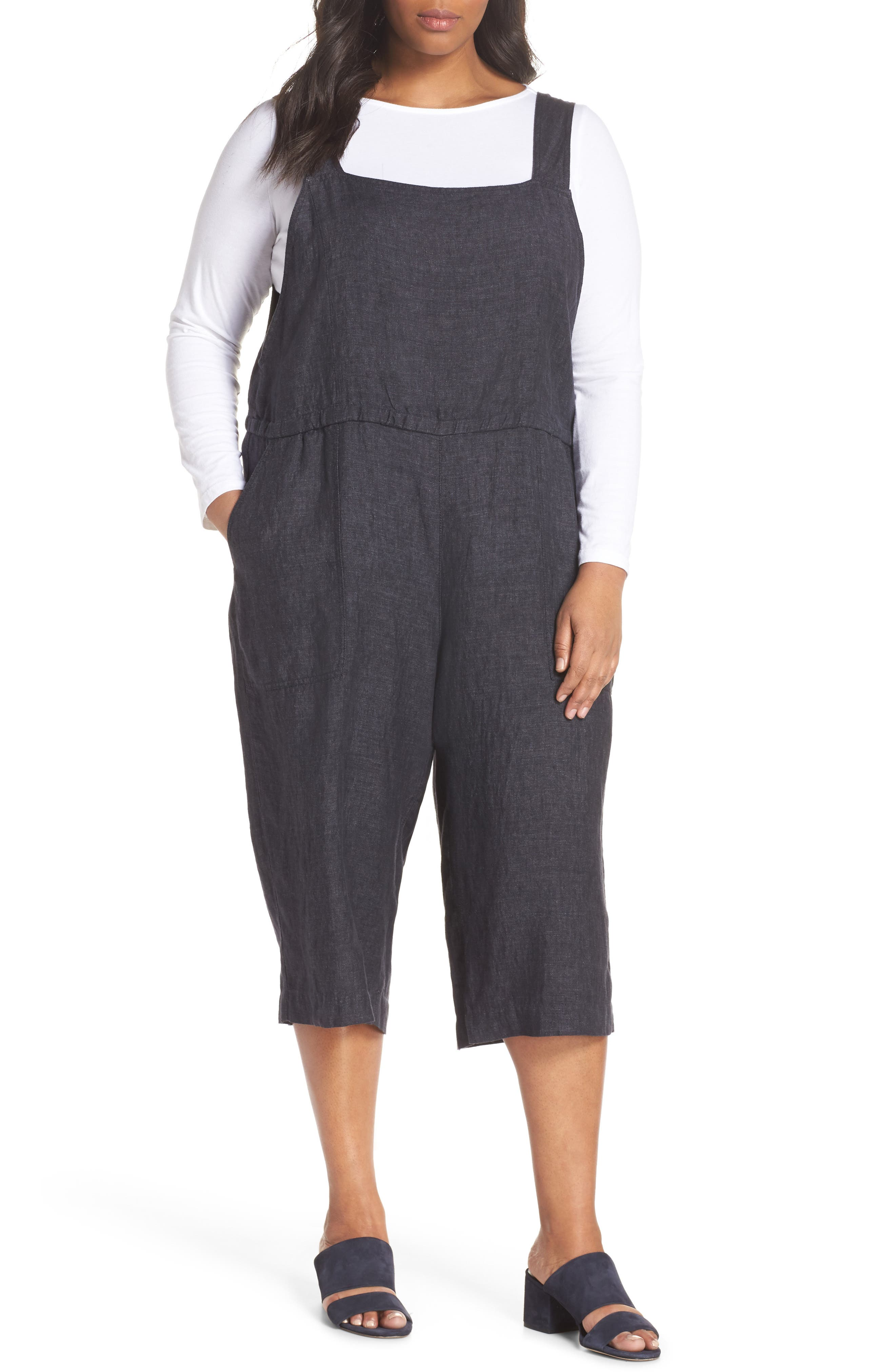 Wide Crop Linen Overalls,                         Main,                         color, Denim