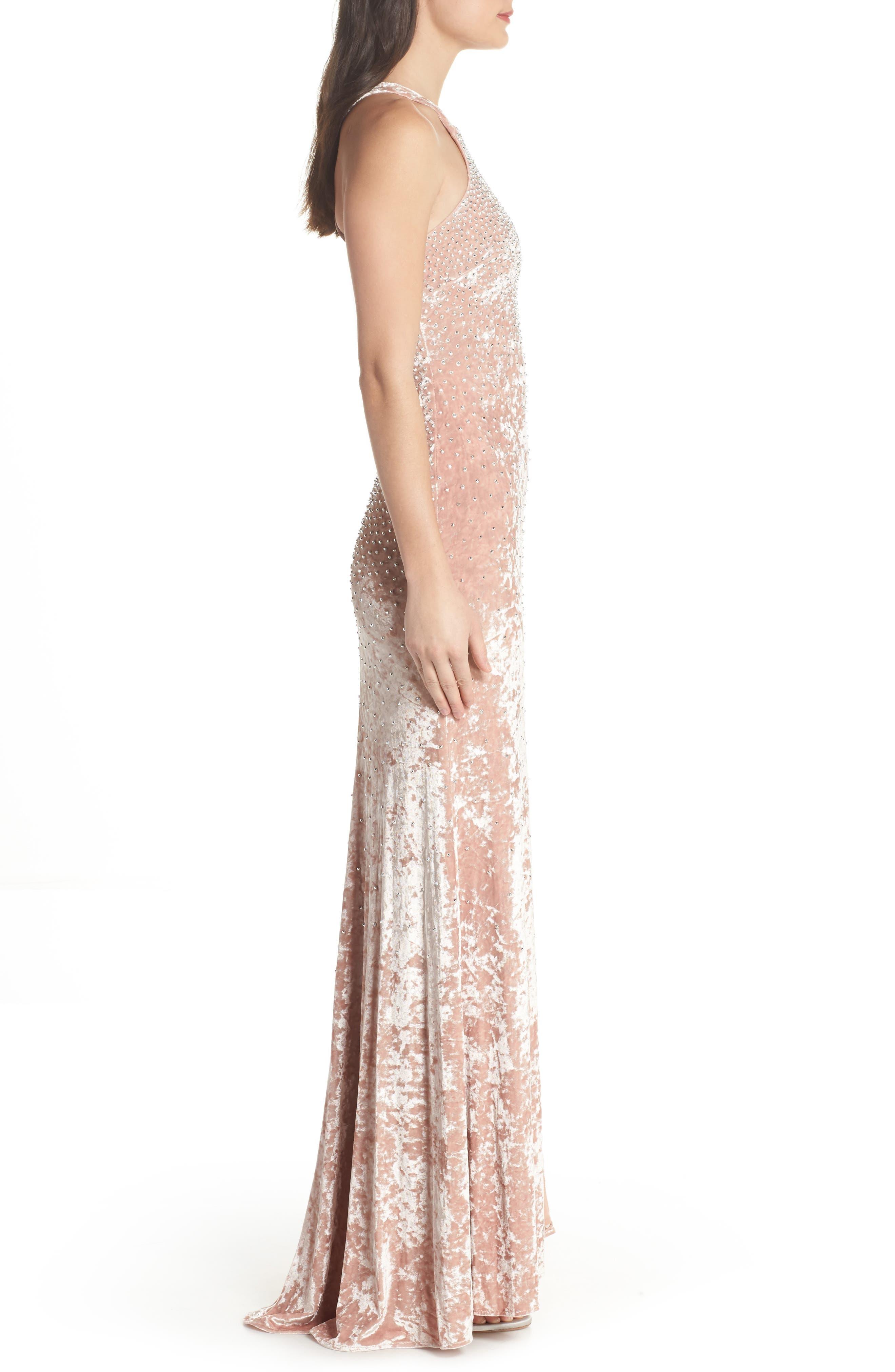 Beaded Crushed Velvet Gown,                             Alternate thumbnail 3, color,                             Blush