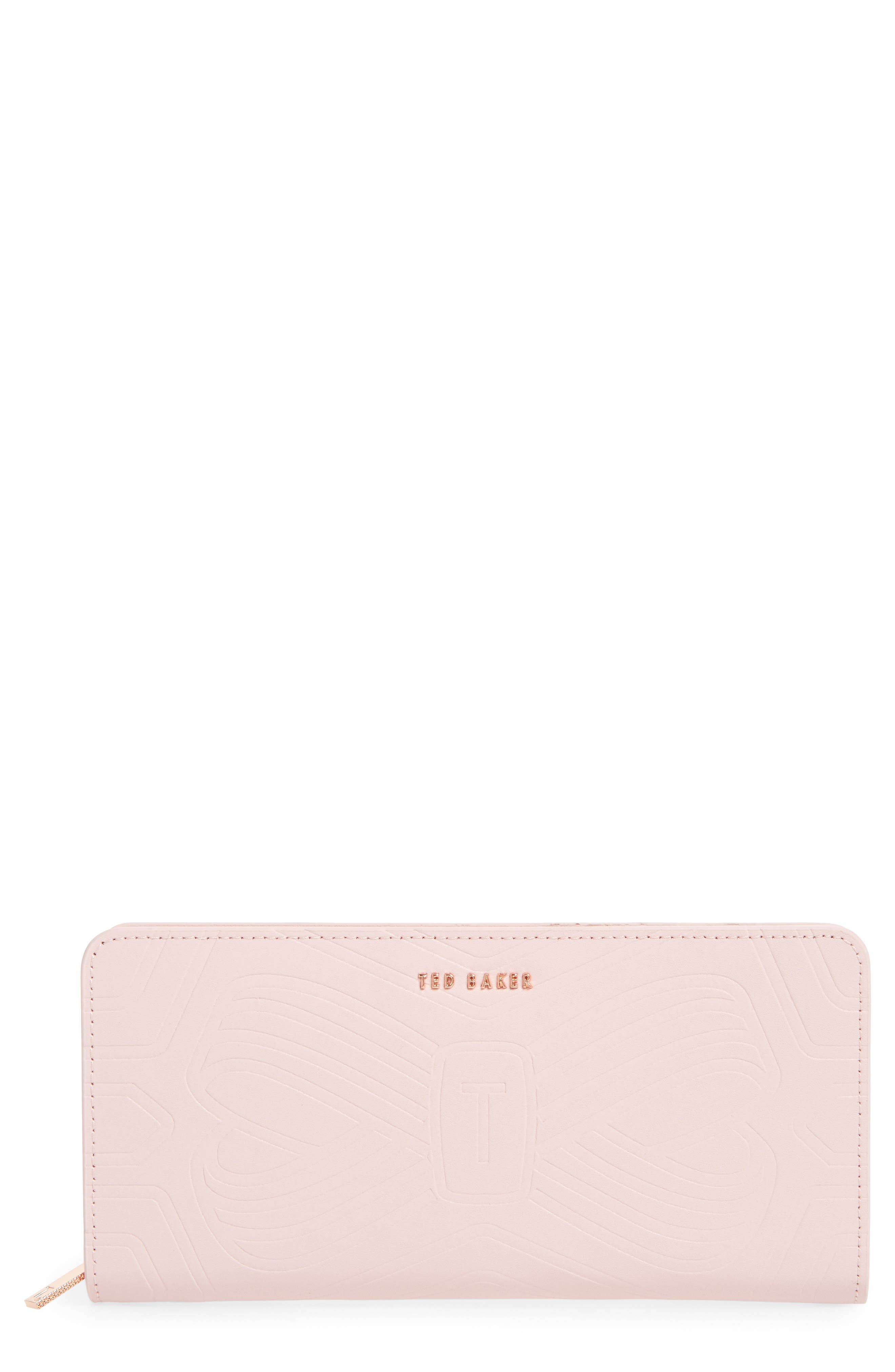 Mellvna Embossed Bow Leather Matinée Wallet,                             Main thumbnail 1, color,                             Light Pink