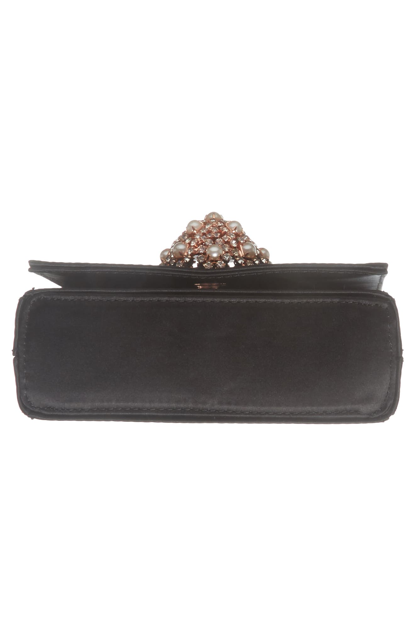 Embellished Satin Evening Bag,                             Alternate thumbnail 6, color,                             Black