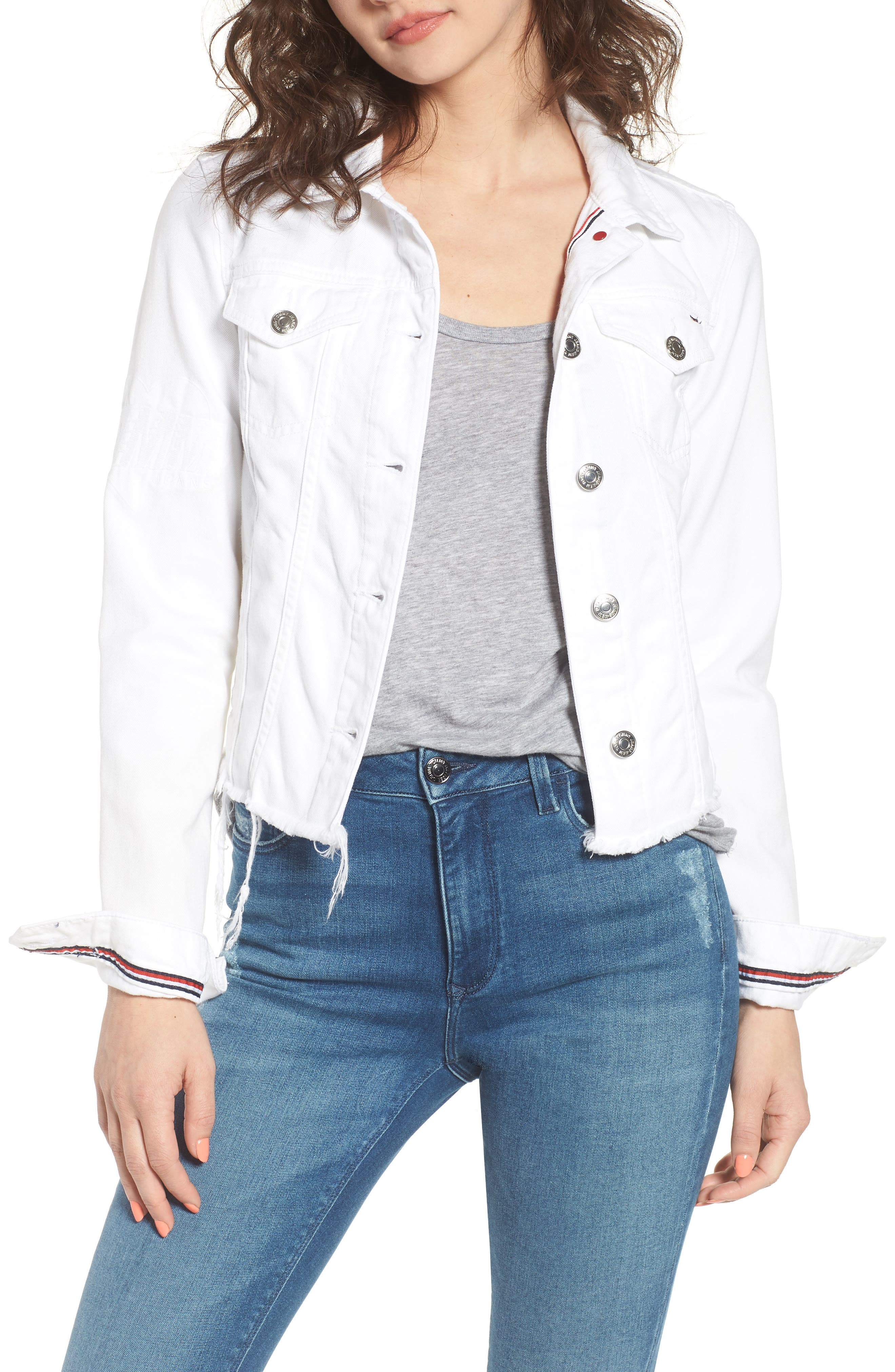 Slim Trucker Denim Jacket,                             Main thumbnail 1, color,                             Soft White Rigid