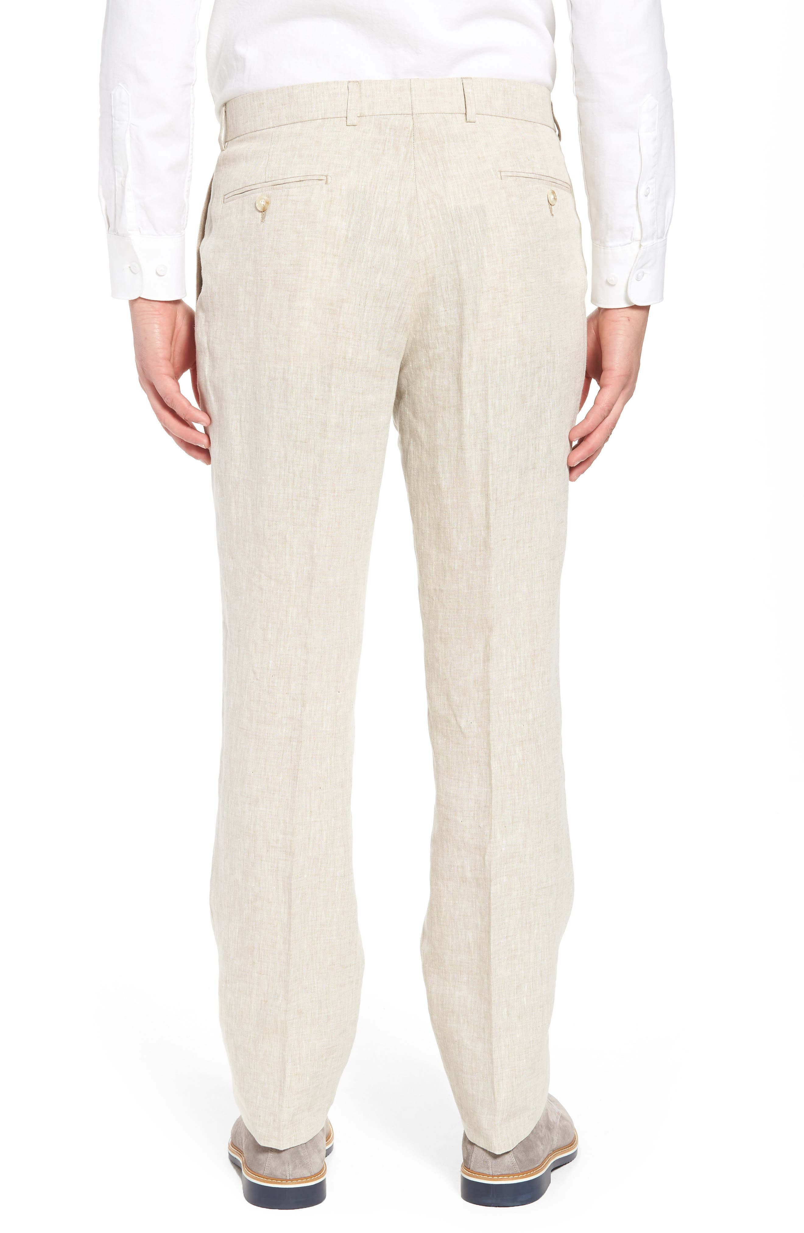 Andrew AIM Flat Front Linen Trousers,                             Alternate thumbnail 2, color,                             Natural