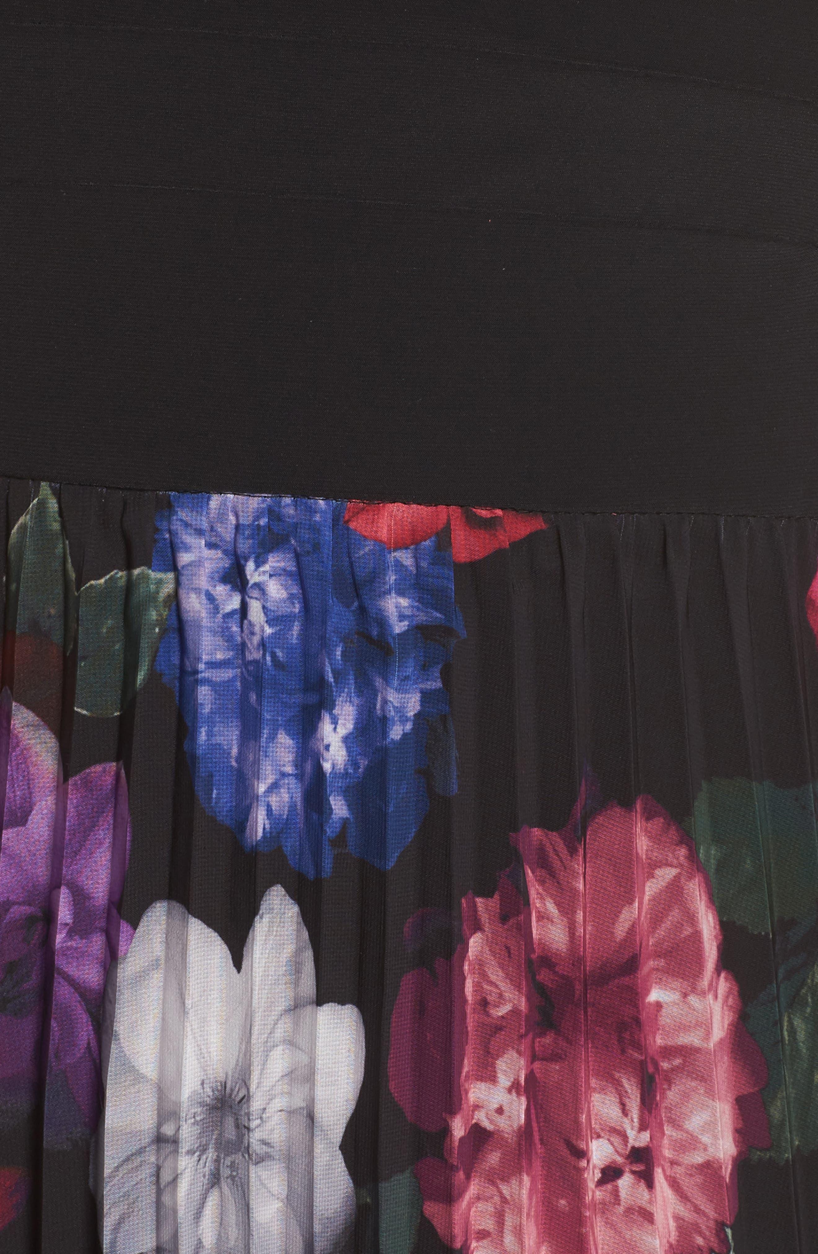 Pleated Floral Off the Shoulder Gown,                             Alternate thumbnail 5, color,                             Black/ Purple