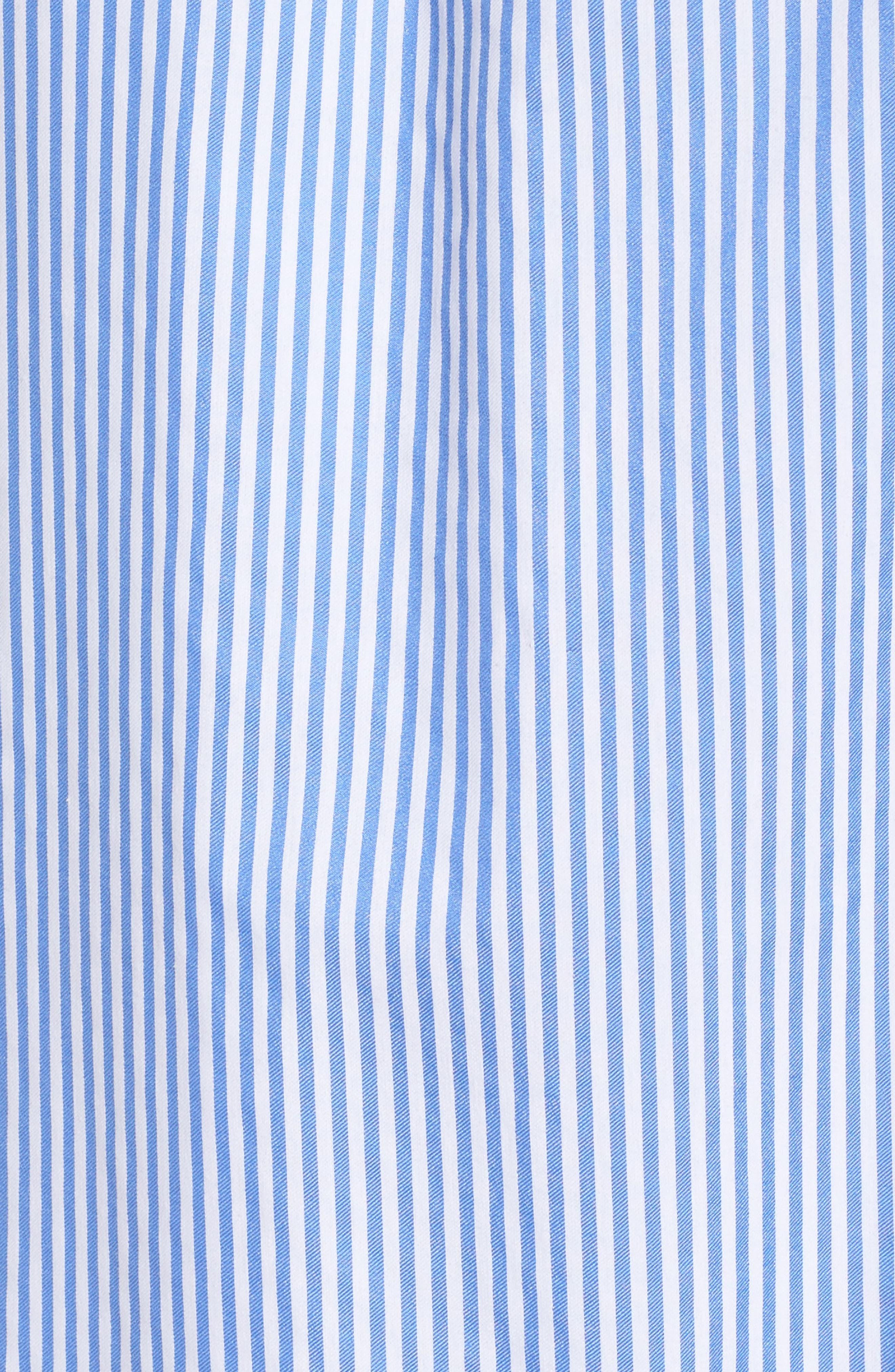 Embroidered Stripe Cold Shoulder Shift Dress,                             Alternate thumbnail 5, color,                             Blue/ White/ Orange