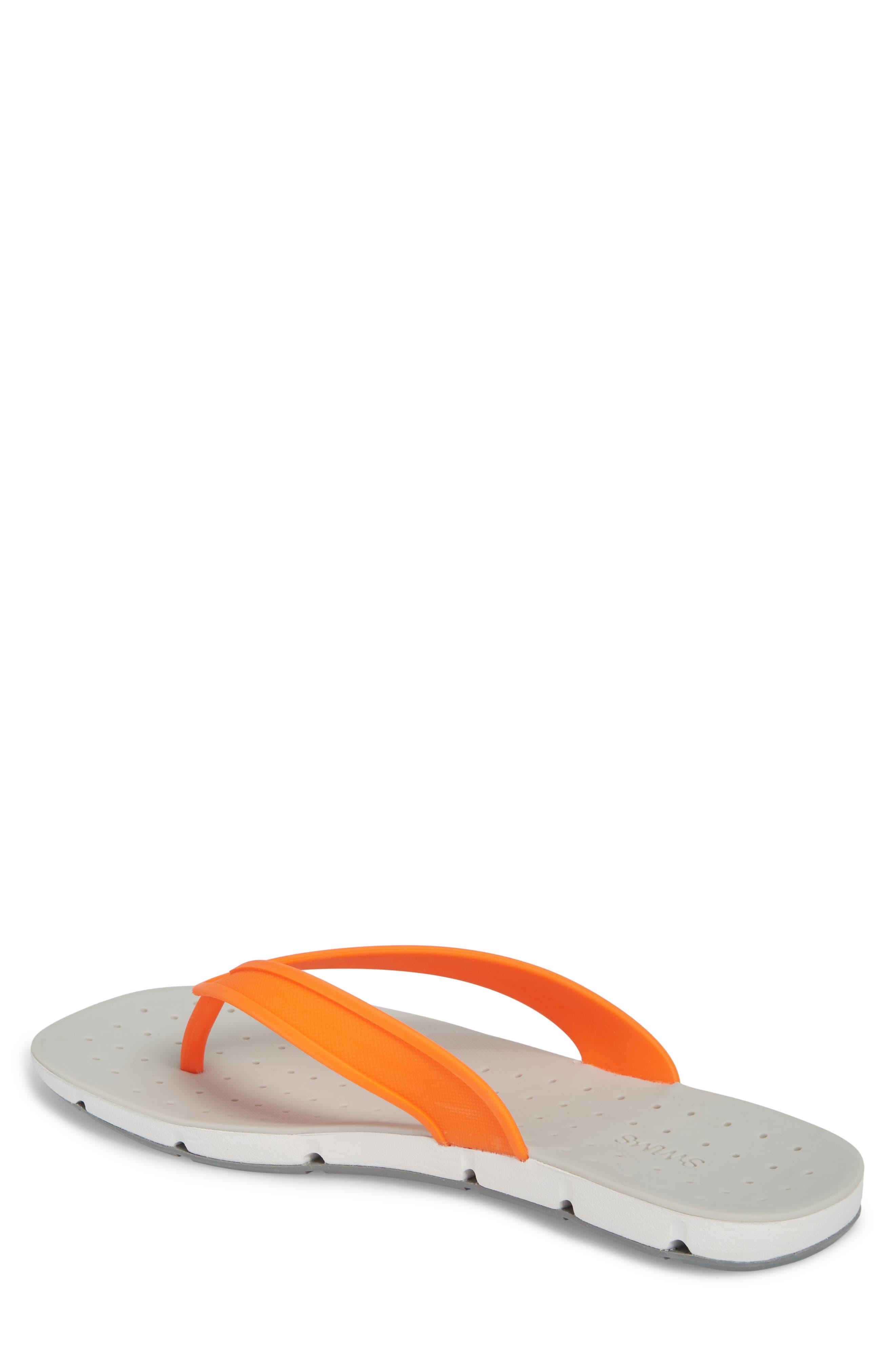 Breeze Flip Flop,                             Alternate thumbnail 2, color,                             Orange/ White/ Grey Fabric