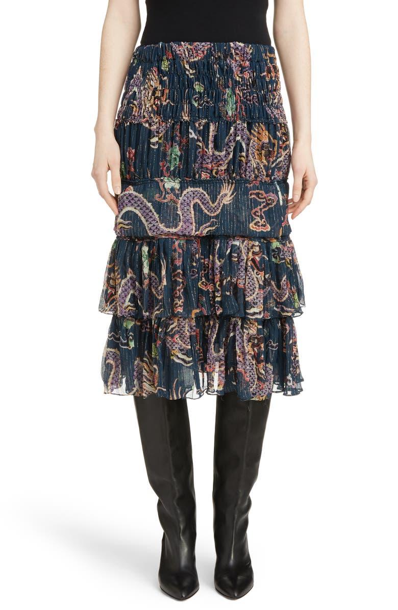 Zuki Tiered Dragon Print Silk Blend Skirt