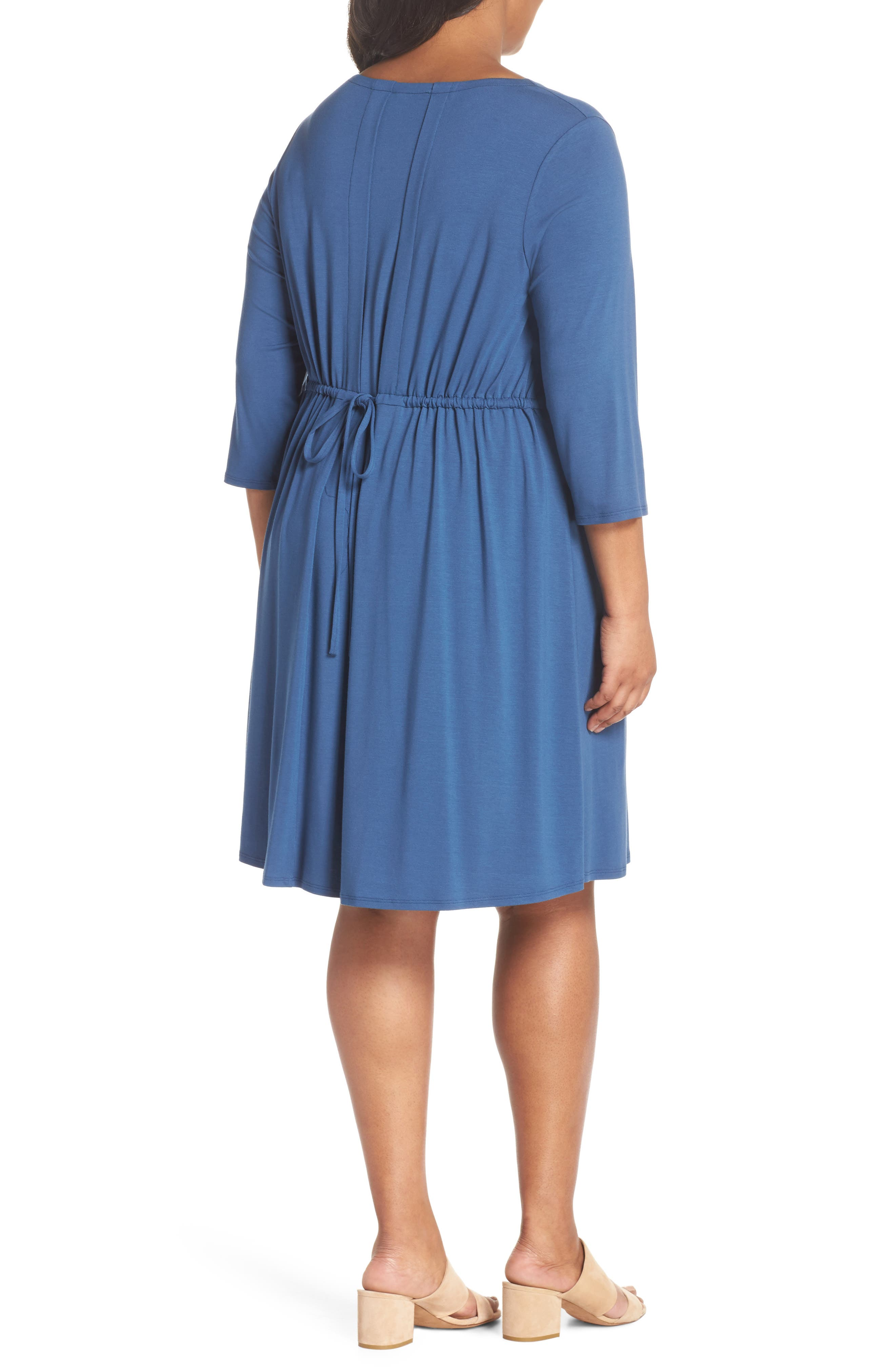 Jewel Neck Tie Back Dress,                             Alternate thumbnail 2, color,                             Denim