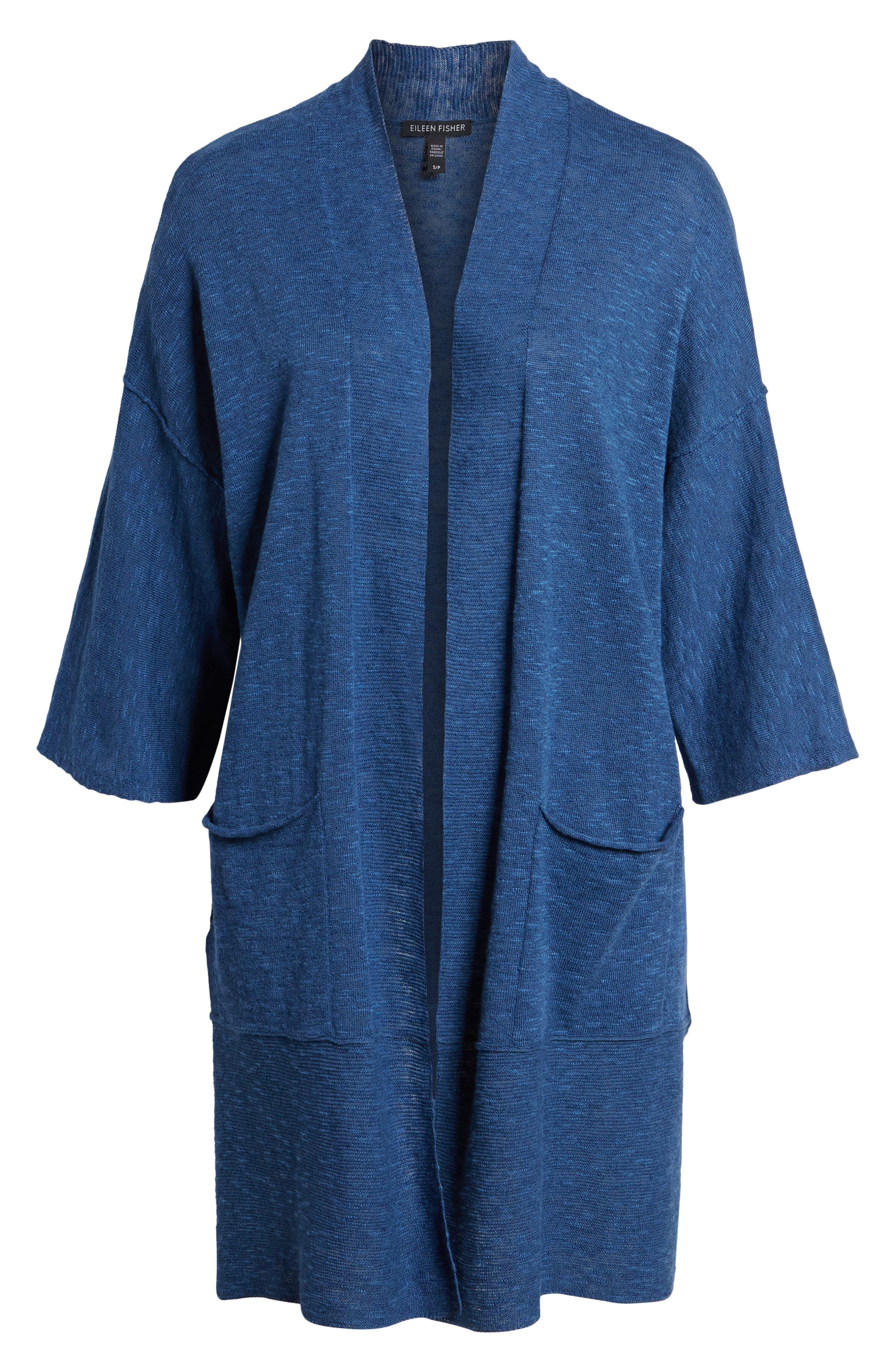 Organic Linen & Cotton Kimono Cardigan,                             Alternate thumbnail 7, color,                             Denim