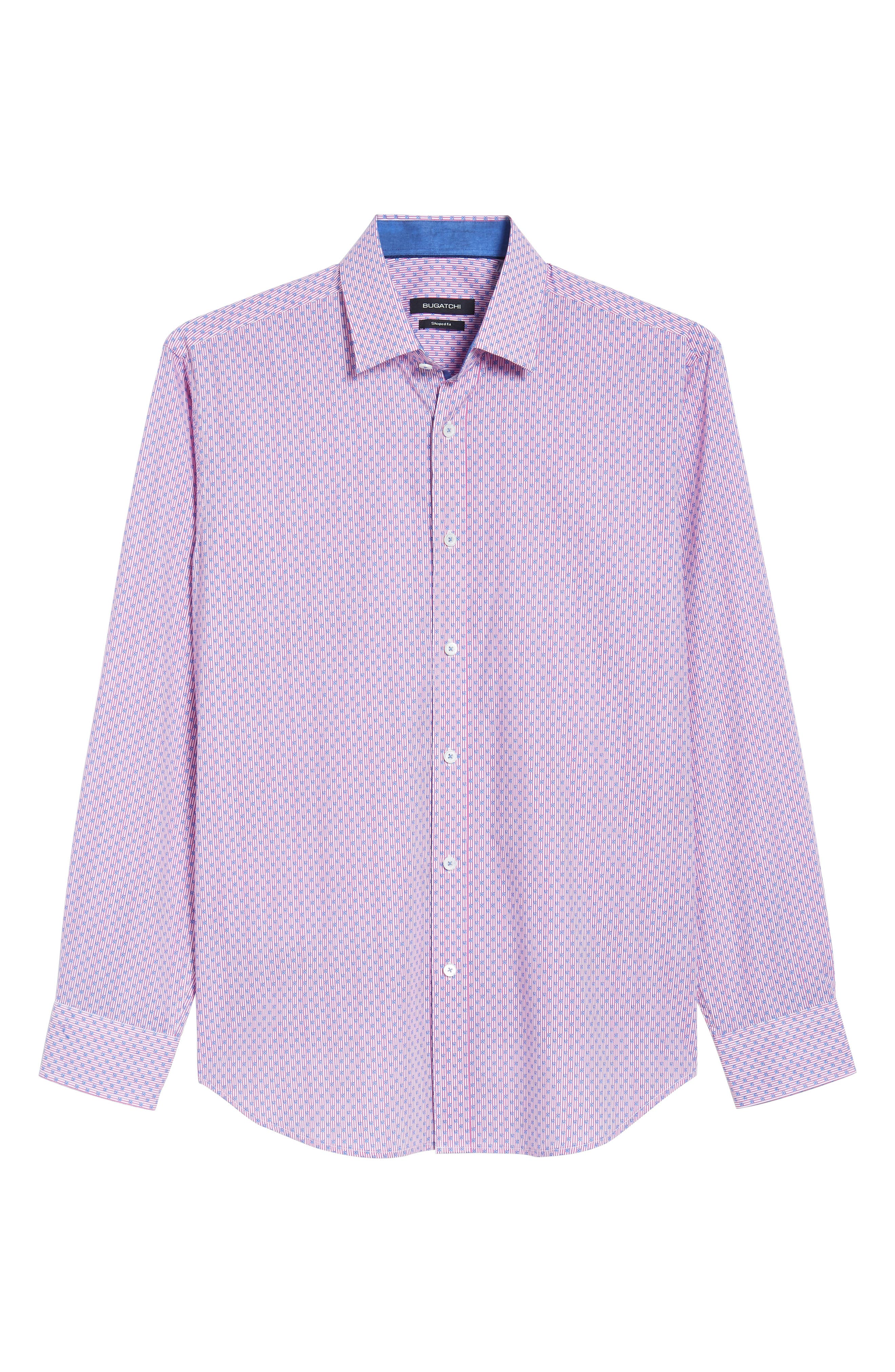 Flowers & Pinstripes Shaped Fit Sport Shirt,                             Alternate thumbnail 6, color,                             Pink