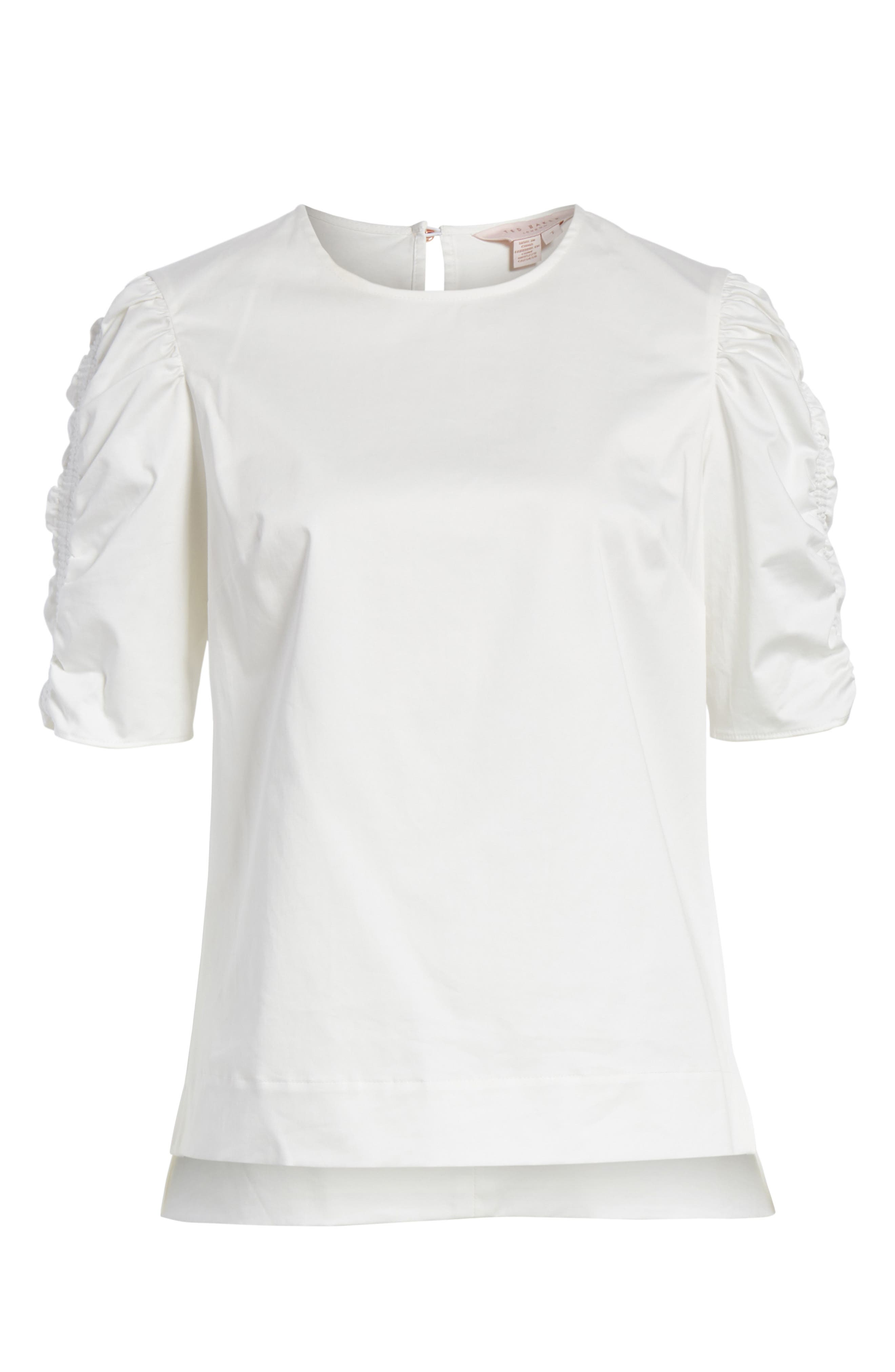 Ruched Sleeve Top,                             Alternate thumbnail 6, color,                             White