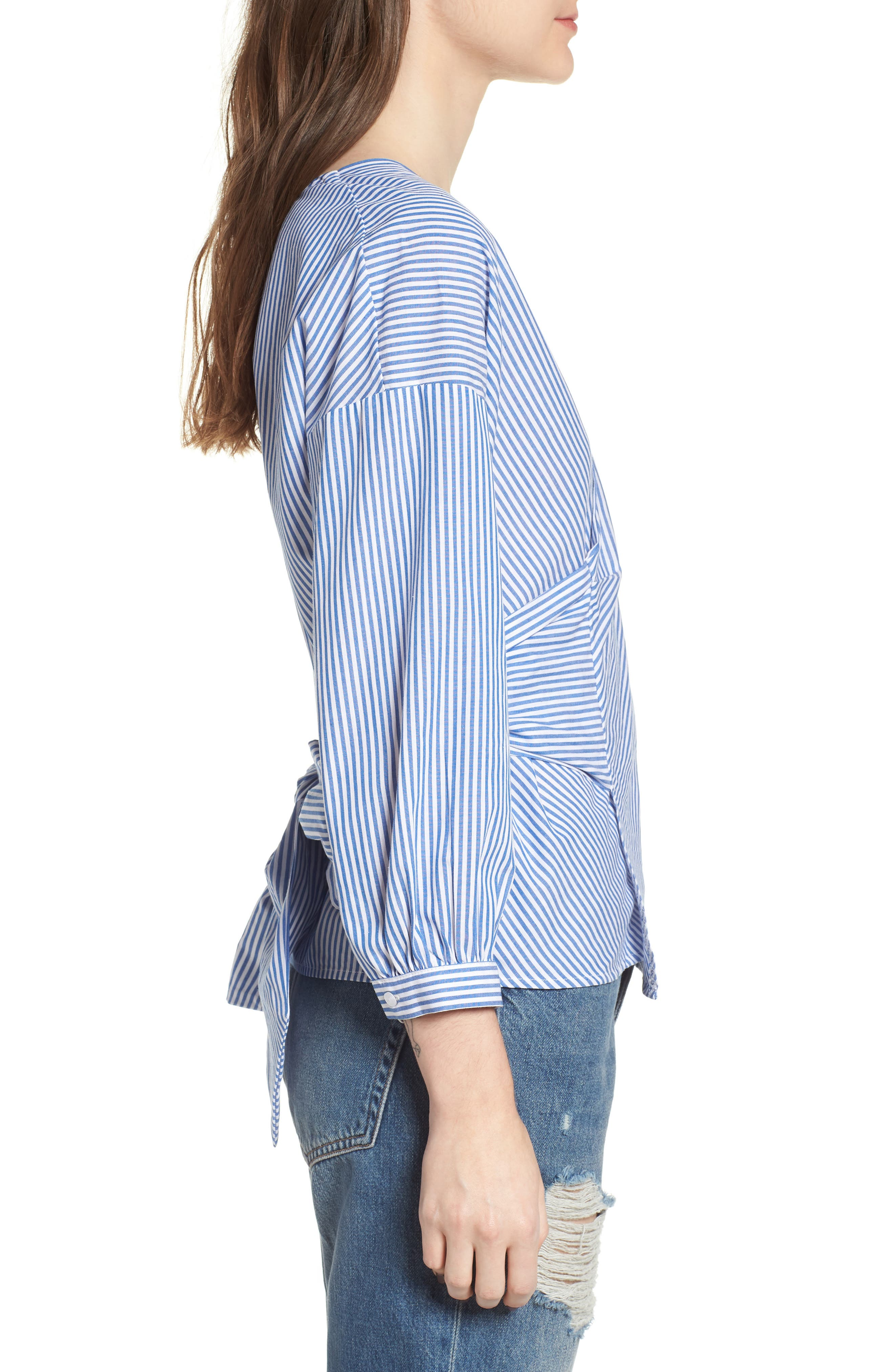 Stripe Wrap Top,                             Alternate thumbnail 3, color,                             Blue/ White