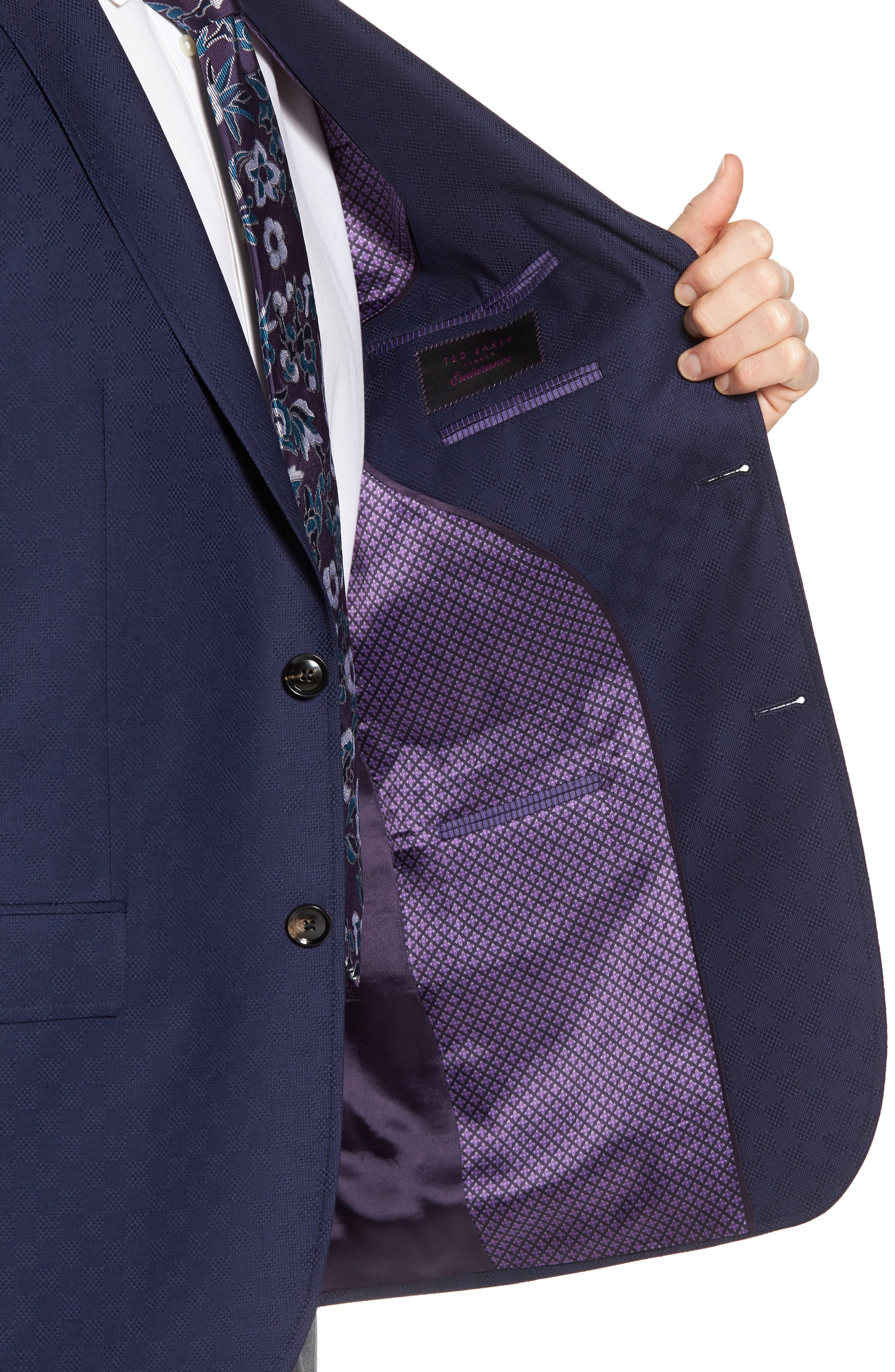 Jay Trim Fit Check Wool Sport Coat,                             Alternate thumbnail 4, color,                             Navy