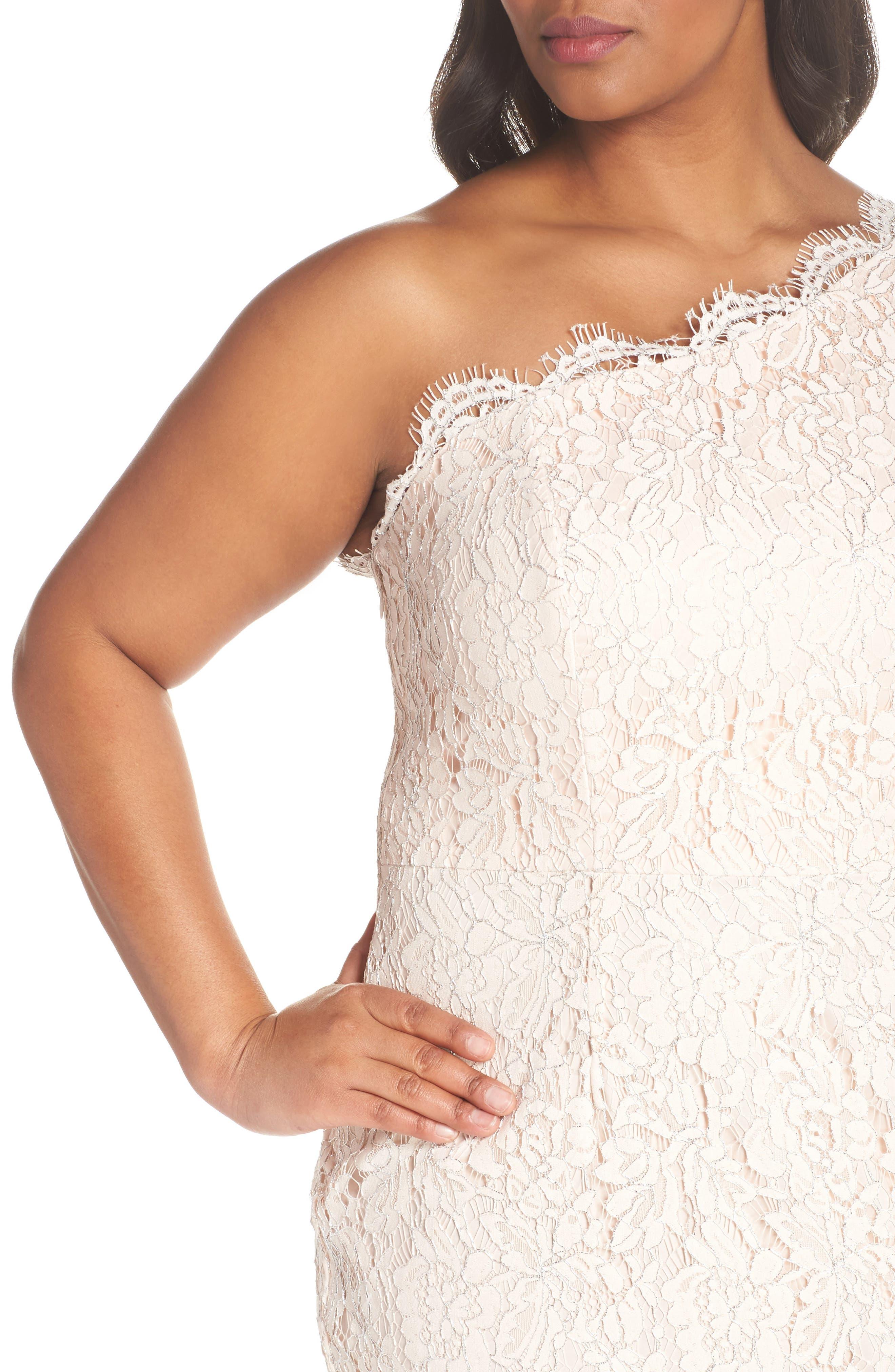 One-Shoulder Metallic Lace Gown,                             Alternate thumbnail 4, color,                             Blush