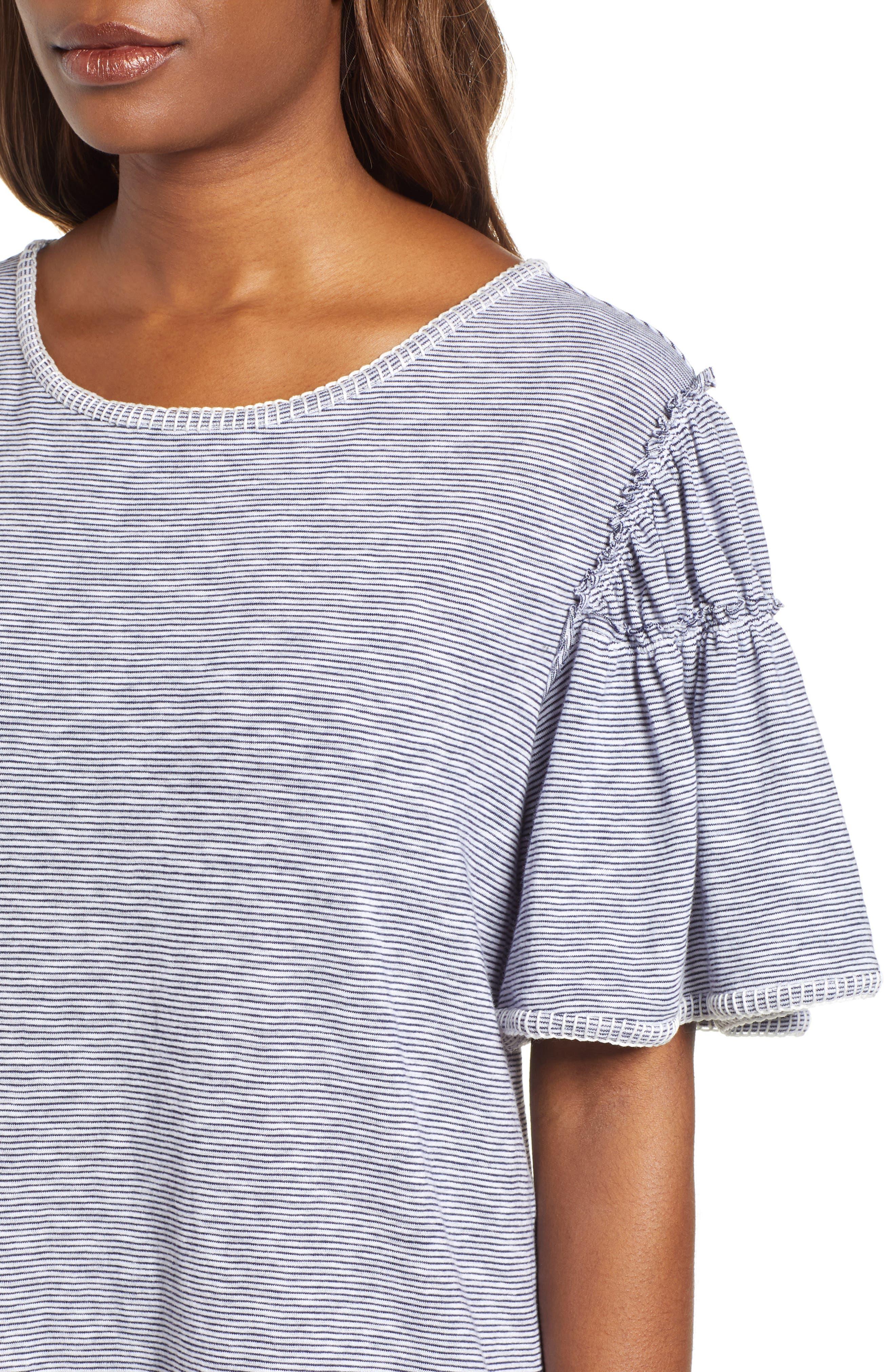 Flounce Sleeve Knit Dress,                             Alternate thumbnail 4, color,                             White- Navy Nicole Stripe
