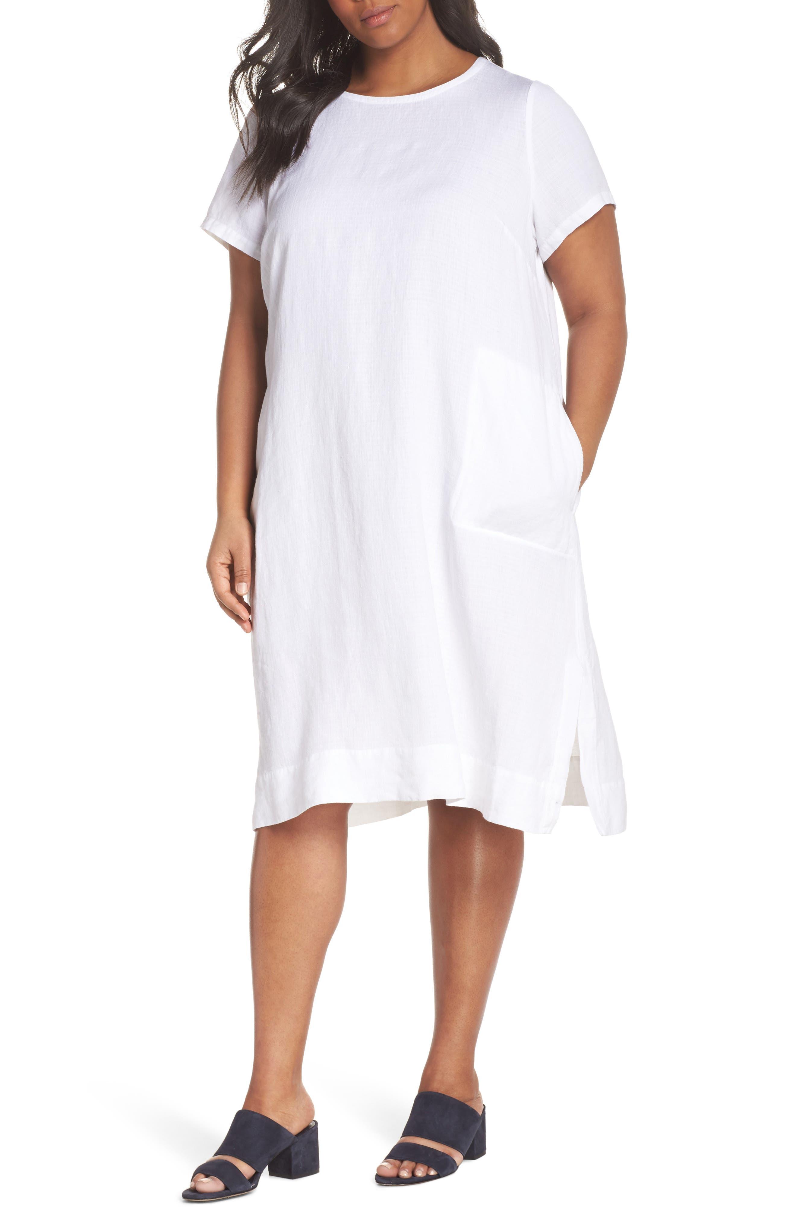 Linen Blend Shift Dress,                             Main thumbnail 1, color,                             White