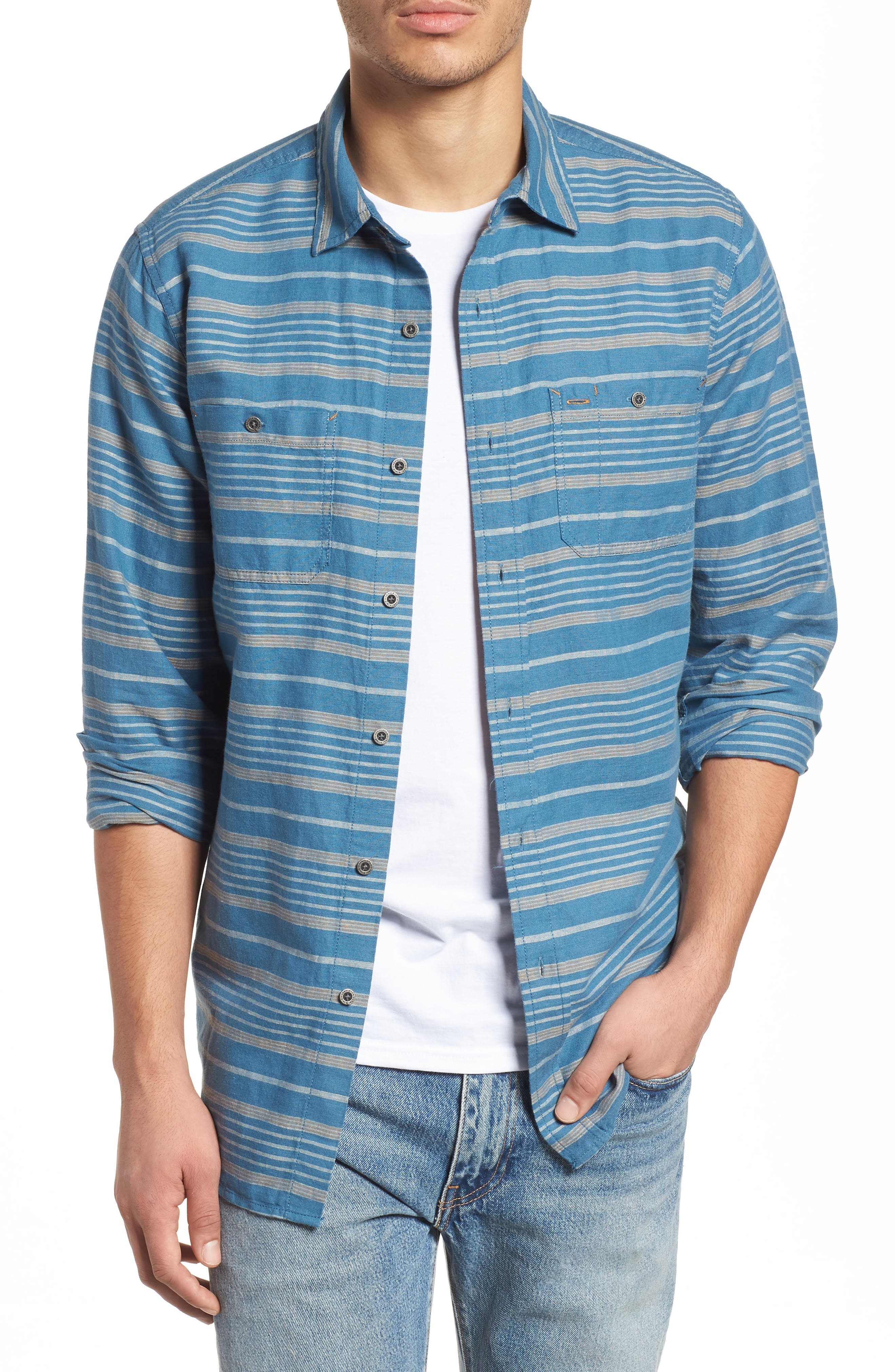 Kay Street Fitted Shirt,                             Main thumbnail 1, color,                             Navy/ Cream Stripe