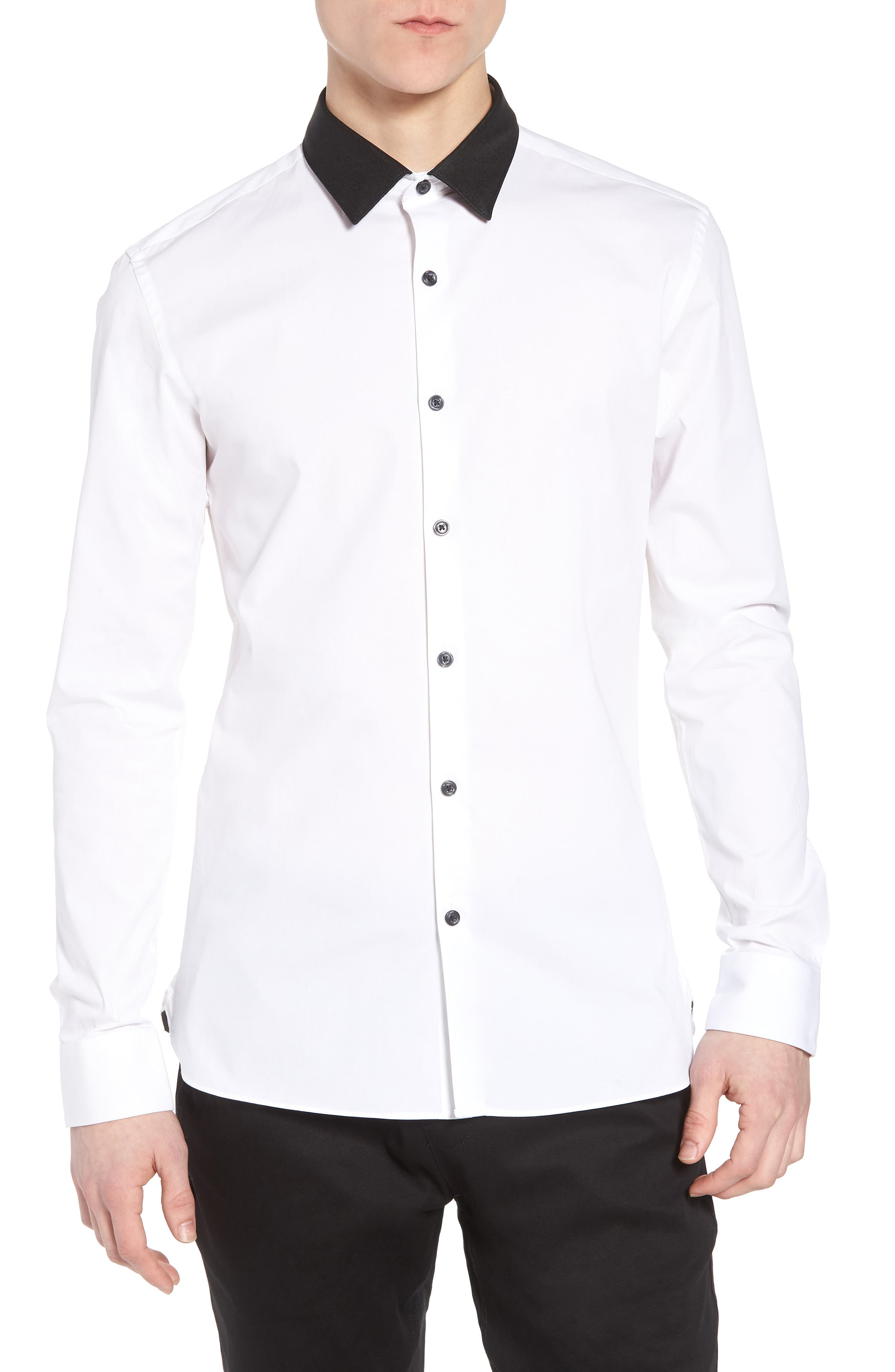 Muscle Fit Contrast Collar Sport Shirt,                             Main thumbnail 1, color,                             White Multi
