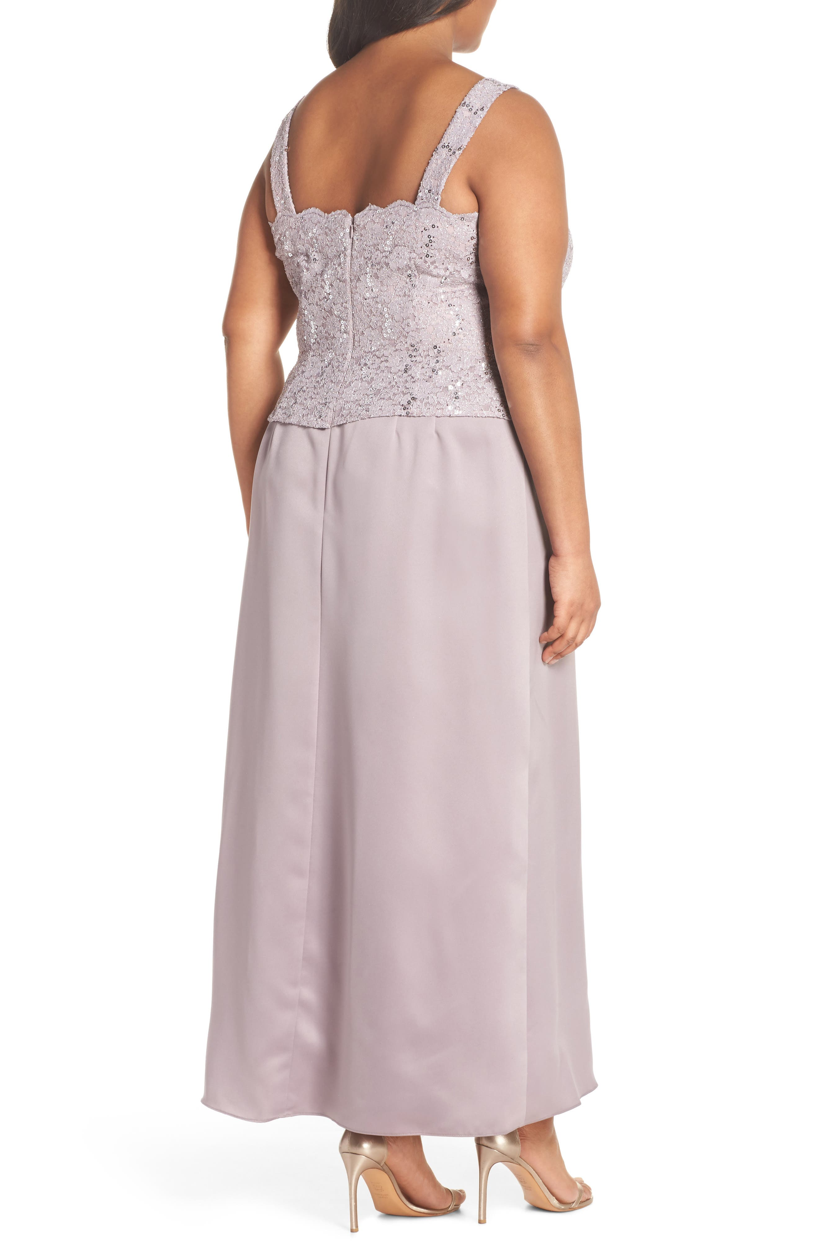 Sequin Lace & Satin Gown with Jacket,                             Alternate thumbnail 4, color,                             Rose