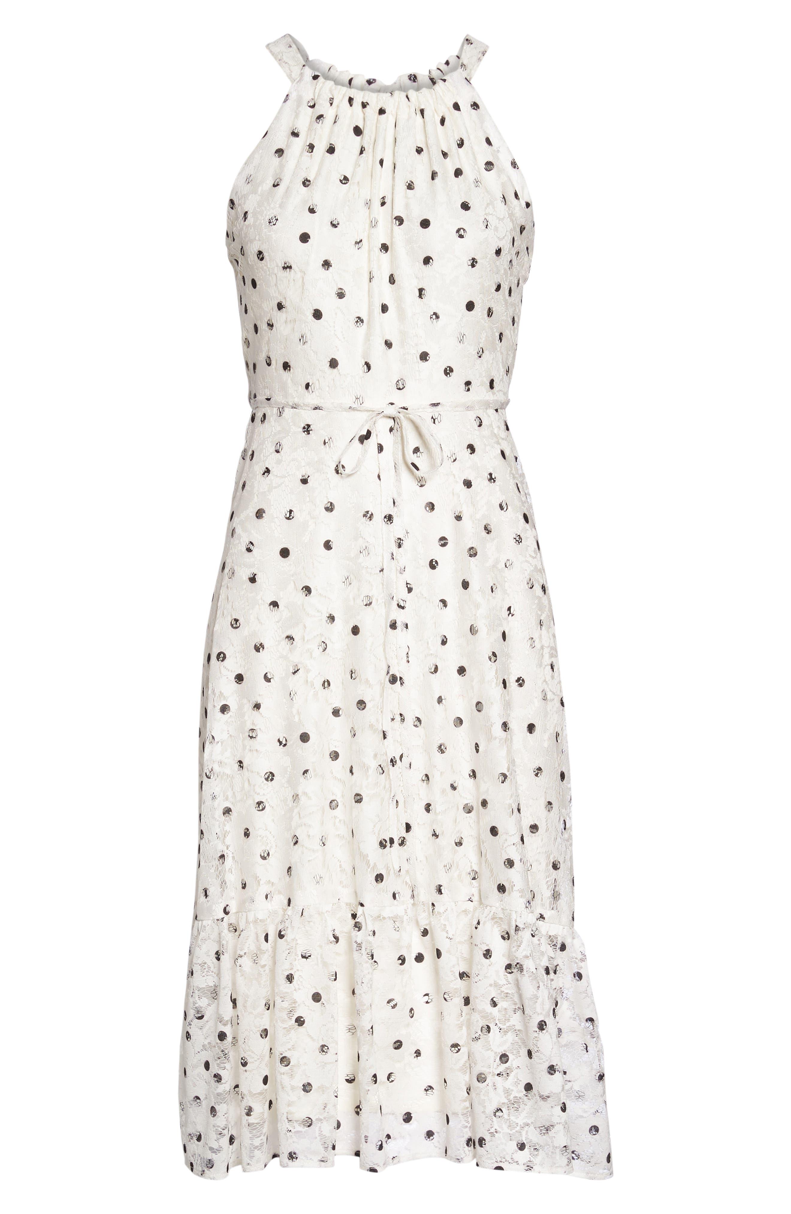 Polka Dot Lace Midi Dress,                             Alternate thumbnail 6, color,                             Ivory/ Black