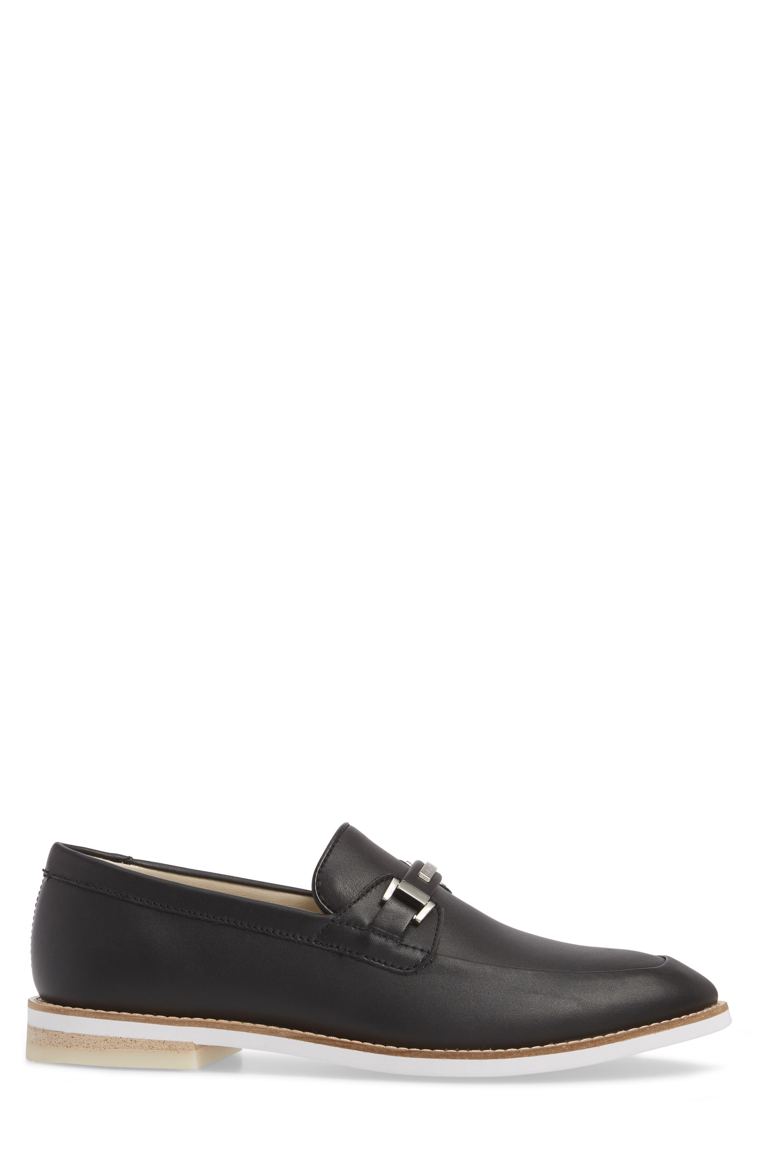 Adler Bit Loafer,                             Alternate thumbnail 3, color,                             Black Leather