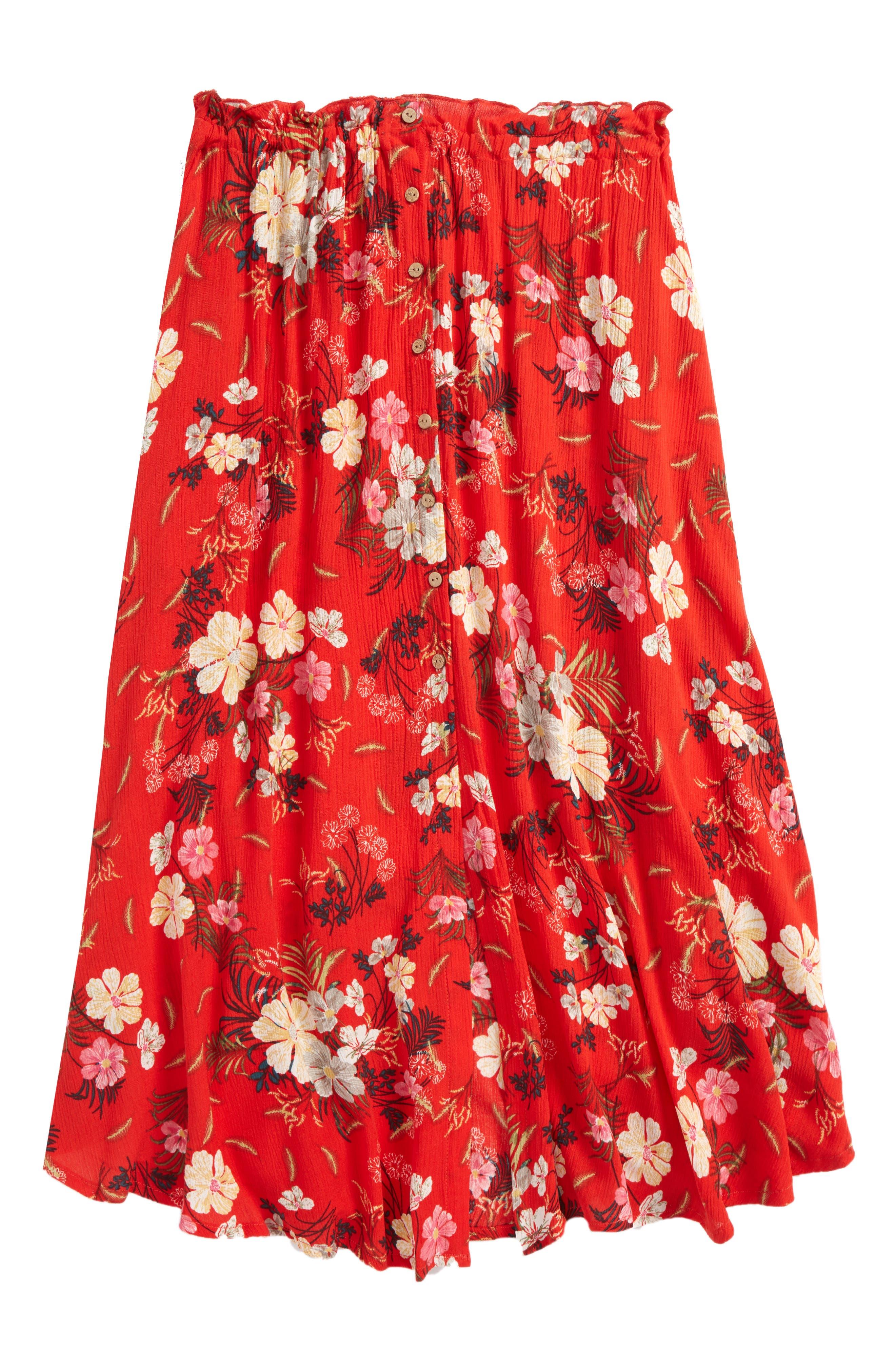 Caroline Floral Skirt,                             Main thumbnail 1, color,                             Poppy Red
