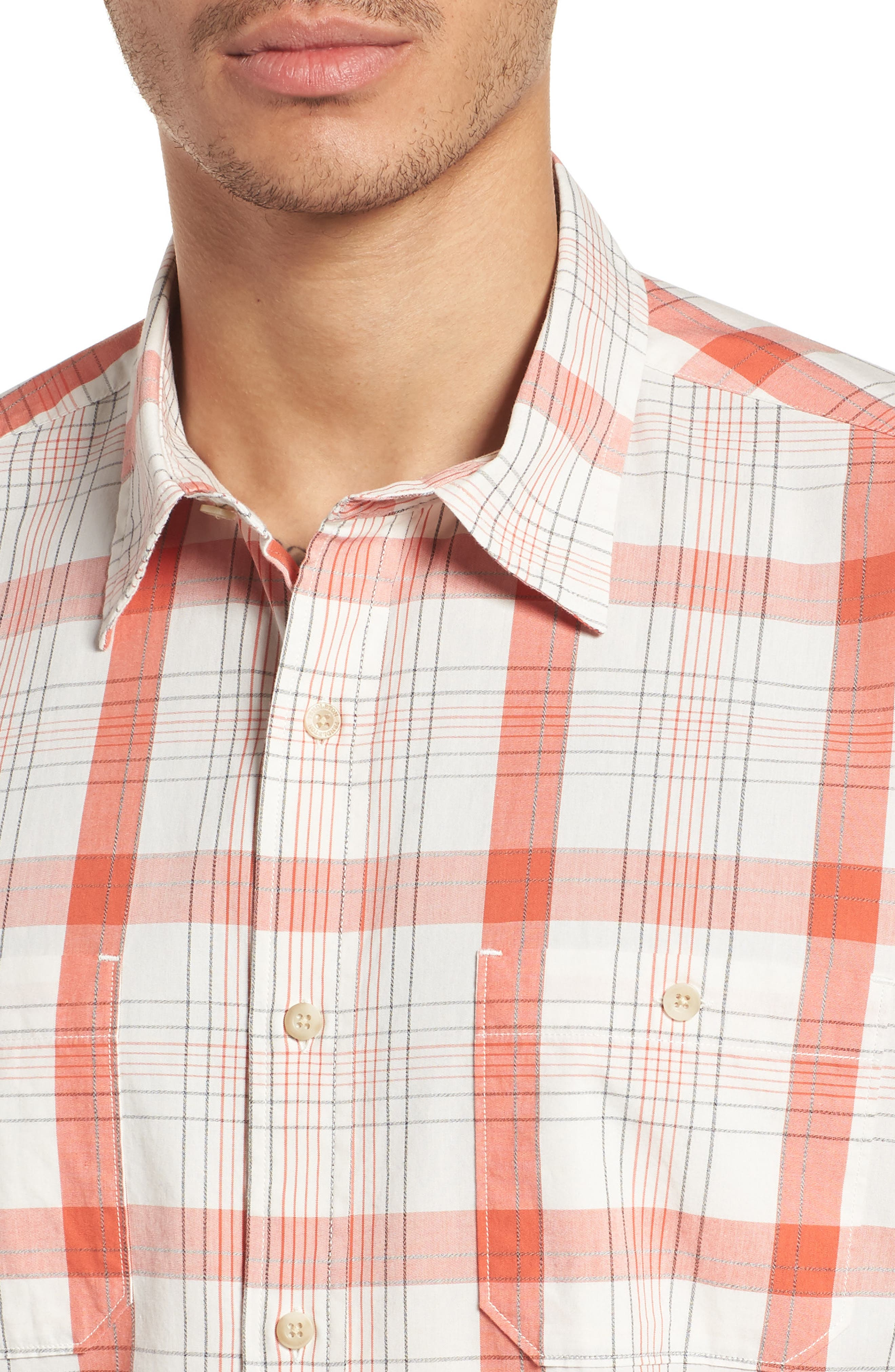 Clear Lake Short Sleeve Woven Shirt,                             Alternate thumbnail 2, color,                             Coral Plaid