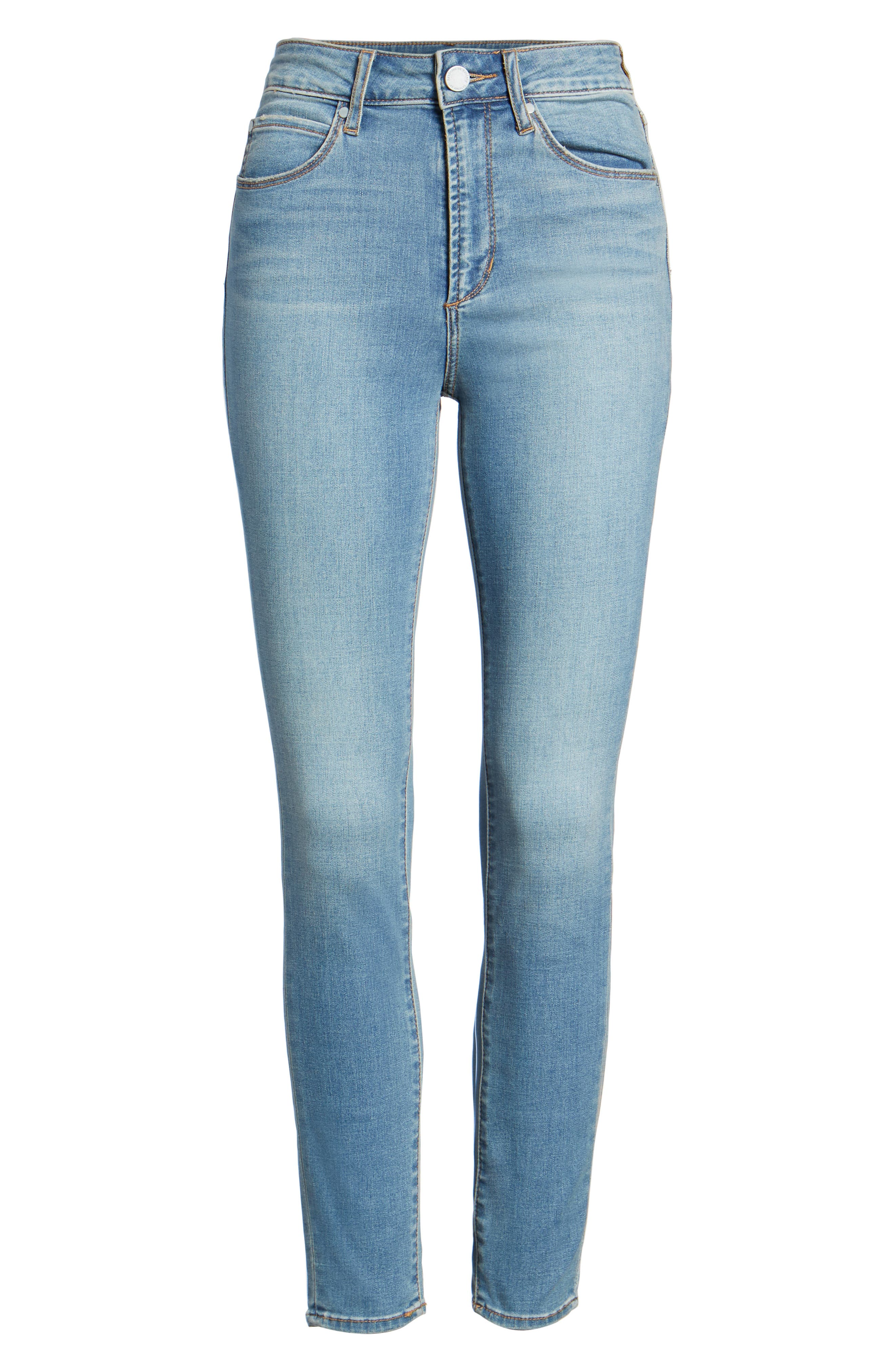 Heather High Waist Skinny Jeans,                             Alternate thumbnail 7, color,                             Monaco