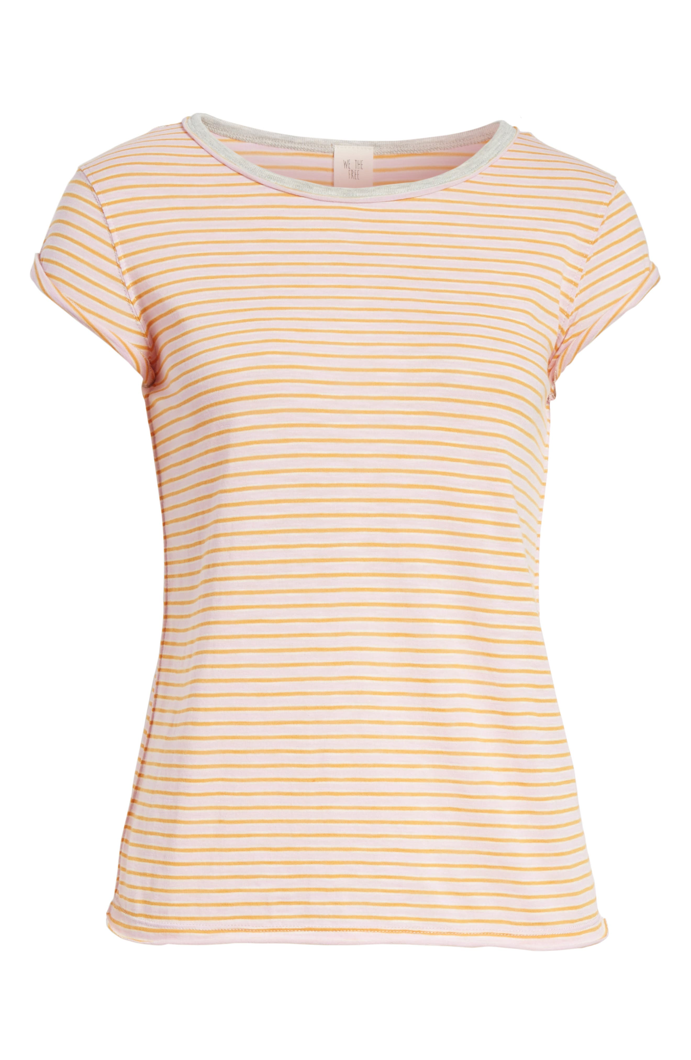 Clare Stripe Tee,                             Alternate thumbnail 6, color,                             Pink Combo
