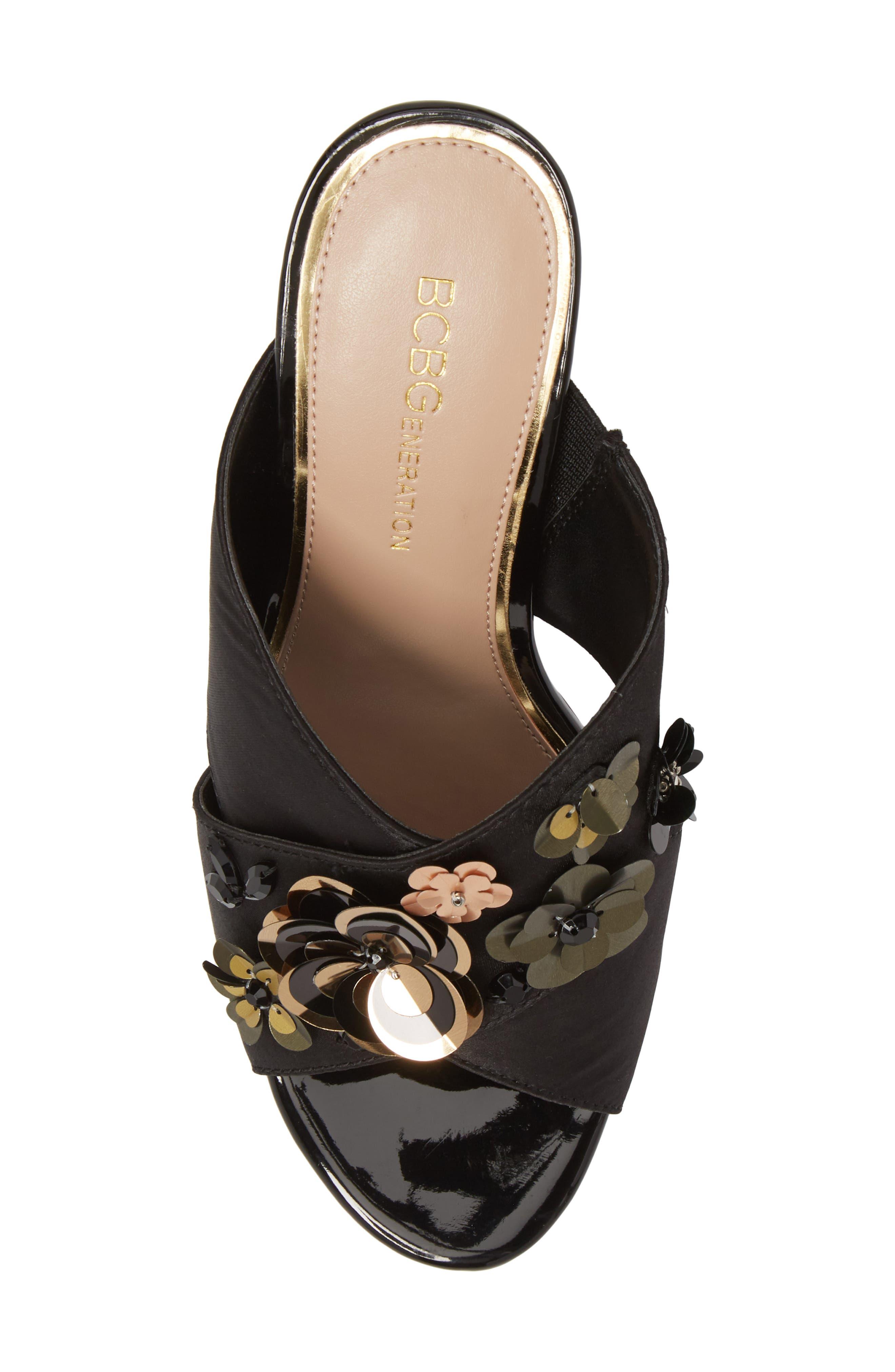 Fabia Sequin Flower Embellished Mule,                             Alternate thumbnail 5, color,                             Black Satin