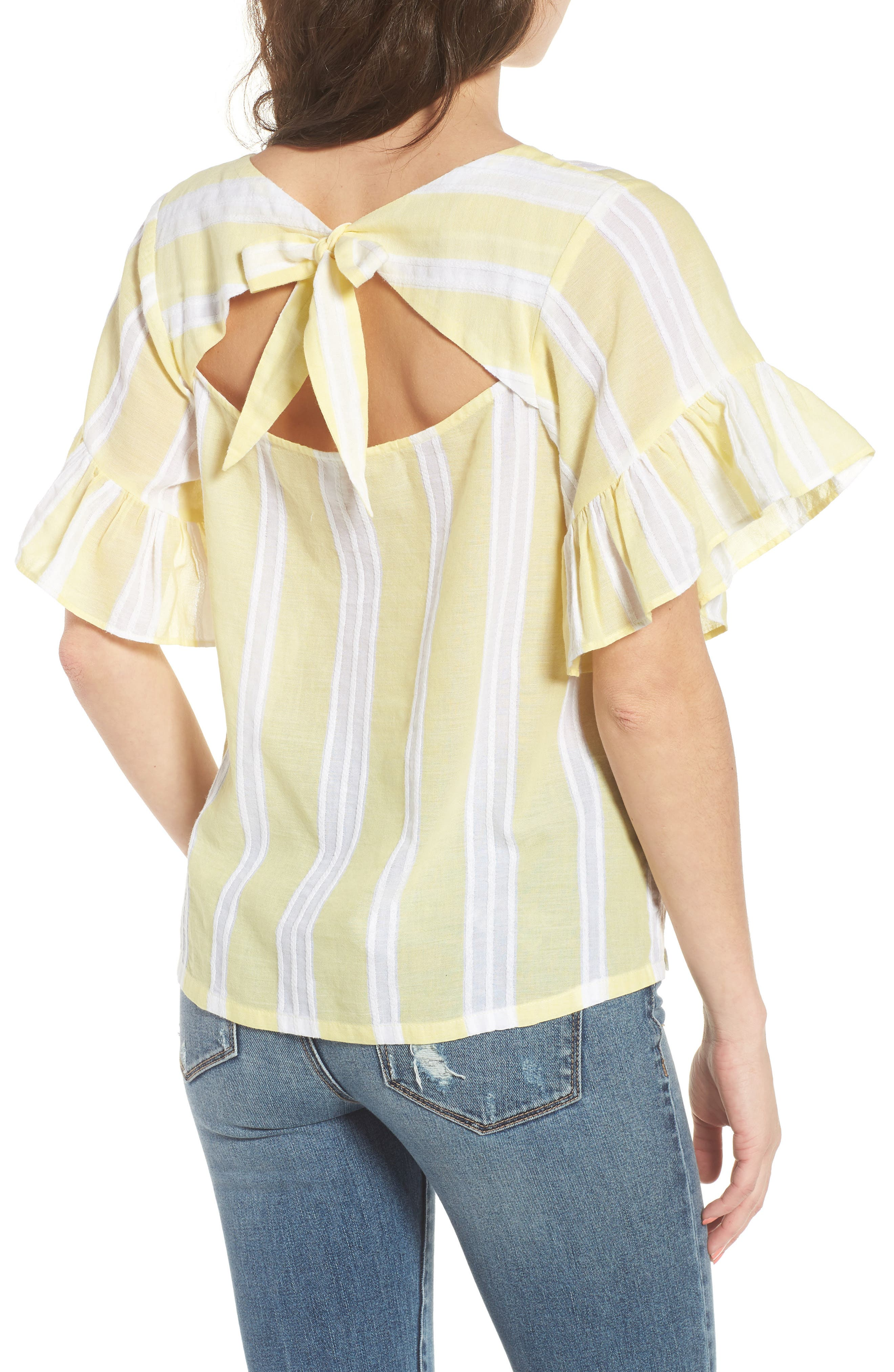 Stripe Tie Back Top,                             Alternate thumbnail 2, color,                             Yellow Glow Lena Stripe