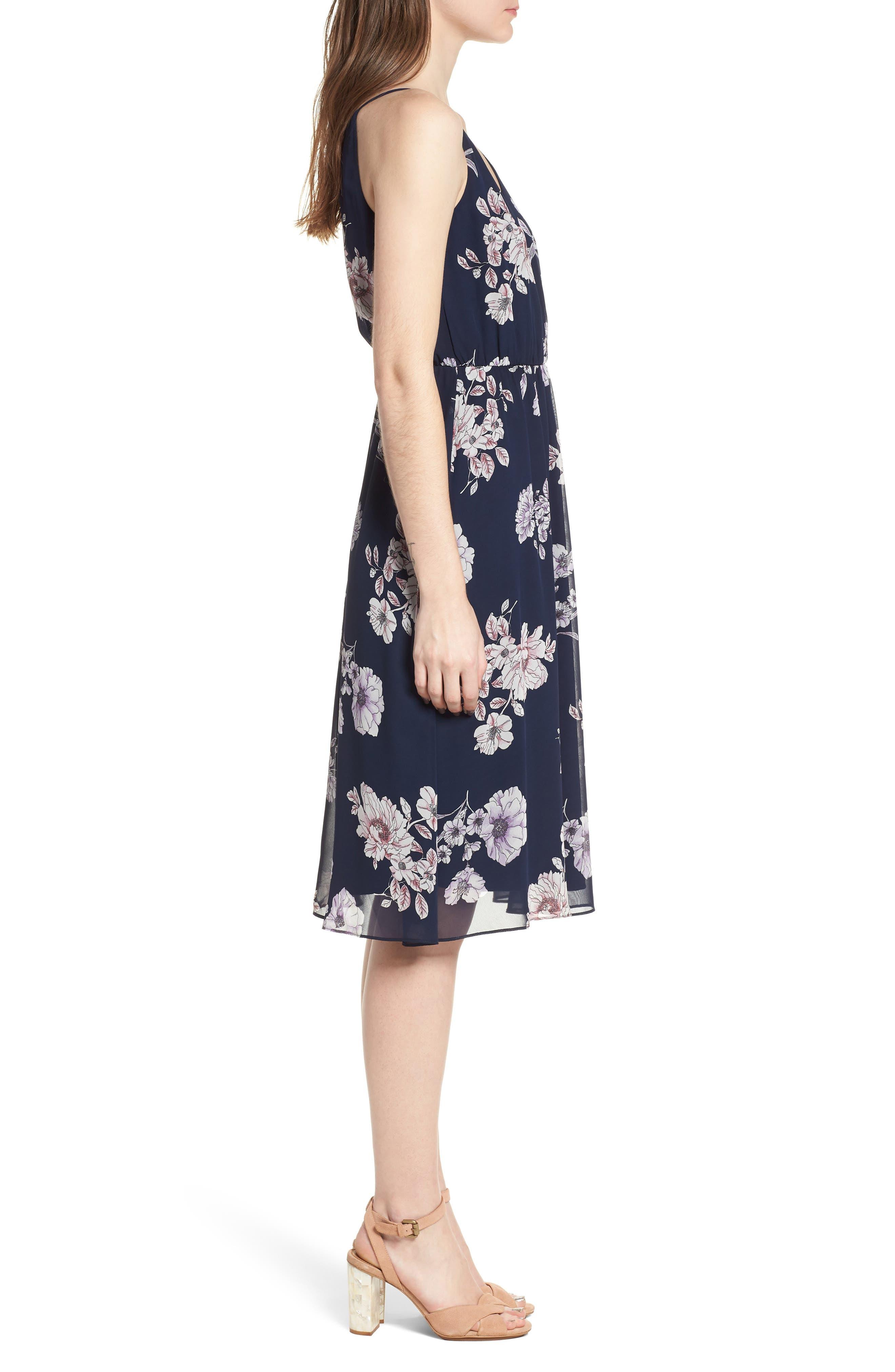 Floral Blouson Midi Dress,                             Alternate thumbnail 3, color,                             Navy