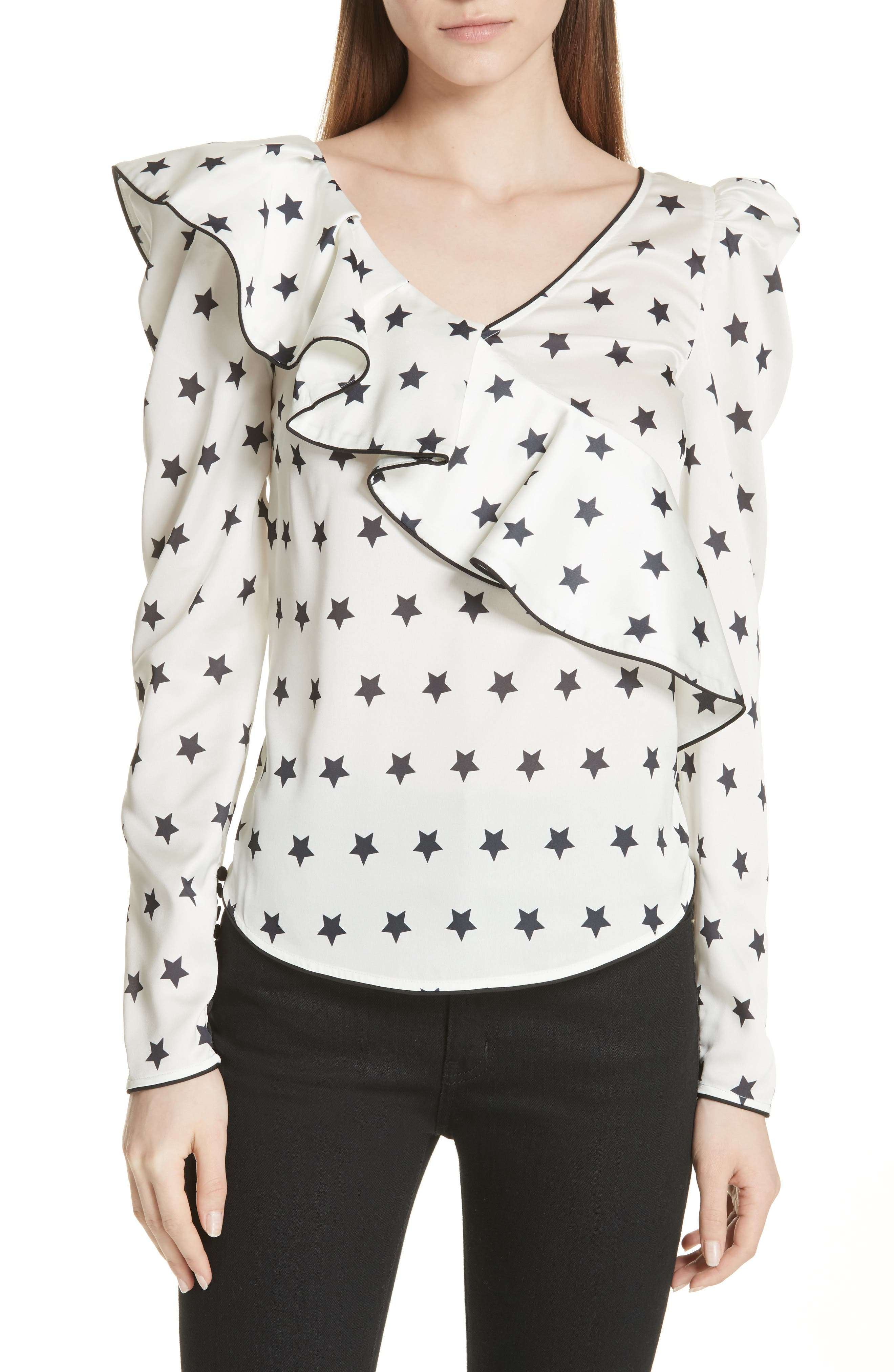 Self-Portrait Ruffle Star Print Satin Top