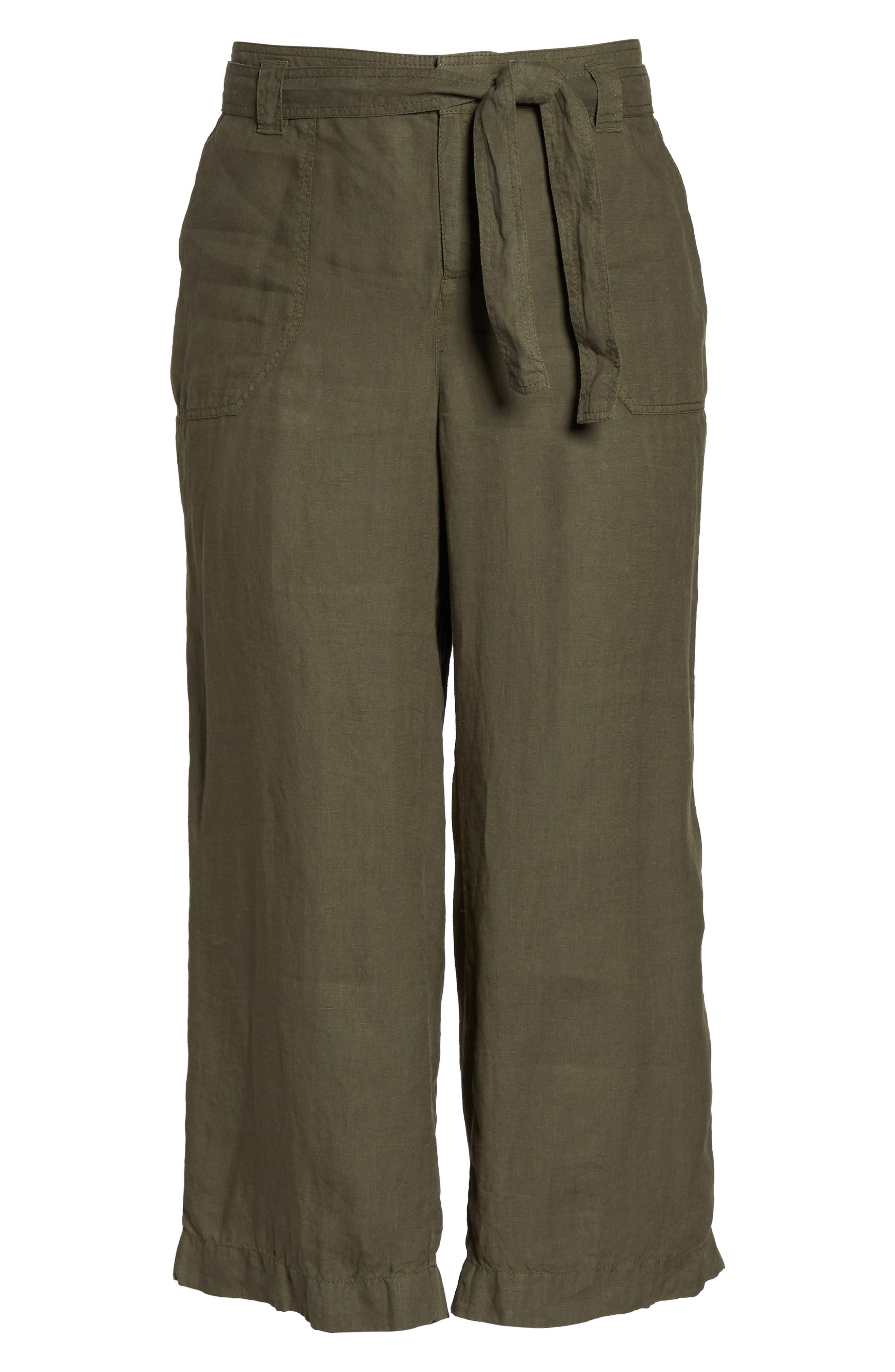 Wide Leg Crop Linen Pants,                             Alternate thumbnail 7, color,                             Olive Sarma