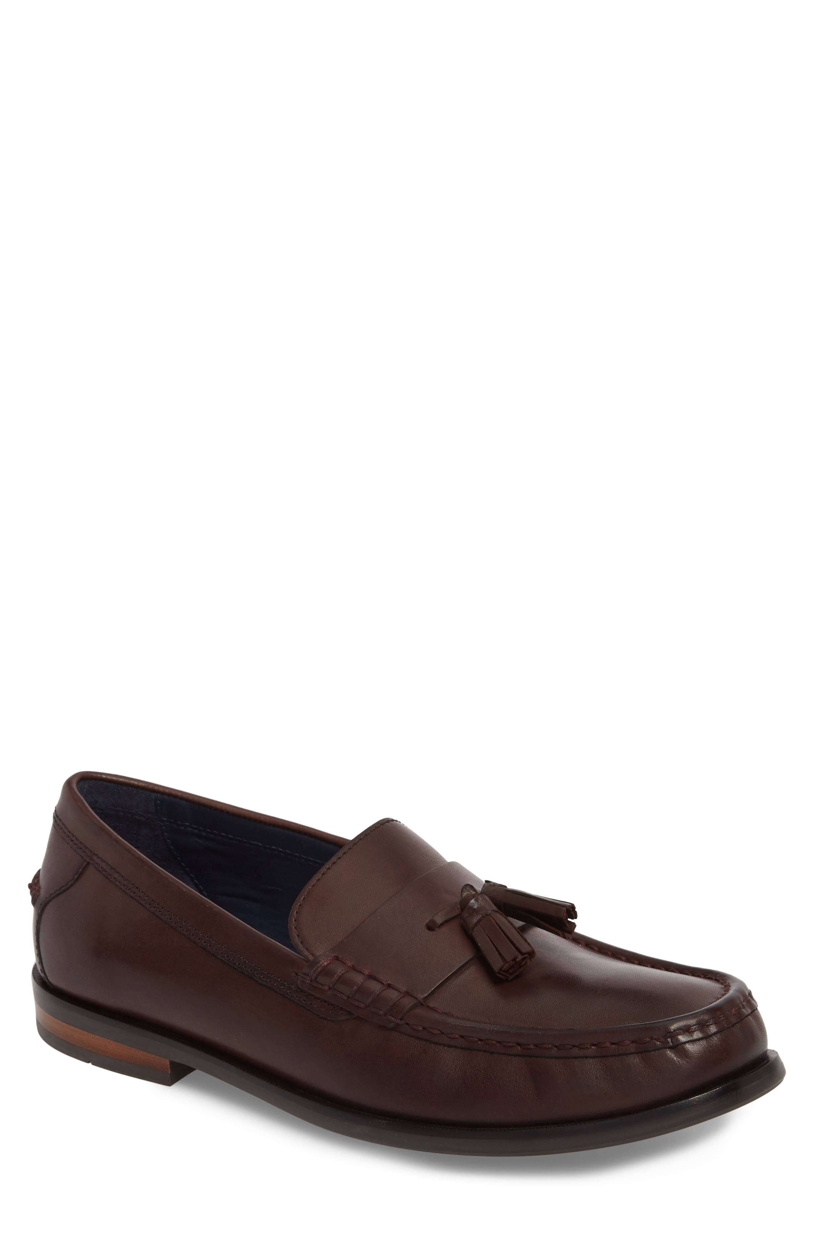 Pinch Friday Tassel Loafer,                             Main thumbnail 1, color,                             Burgundy Leather