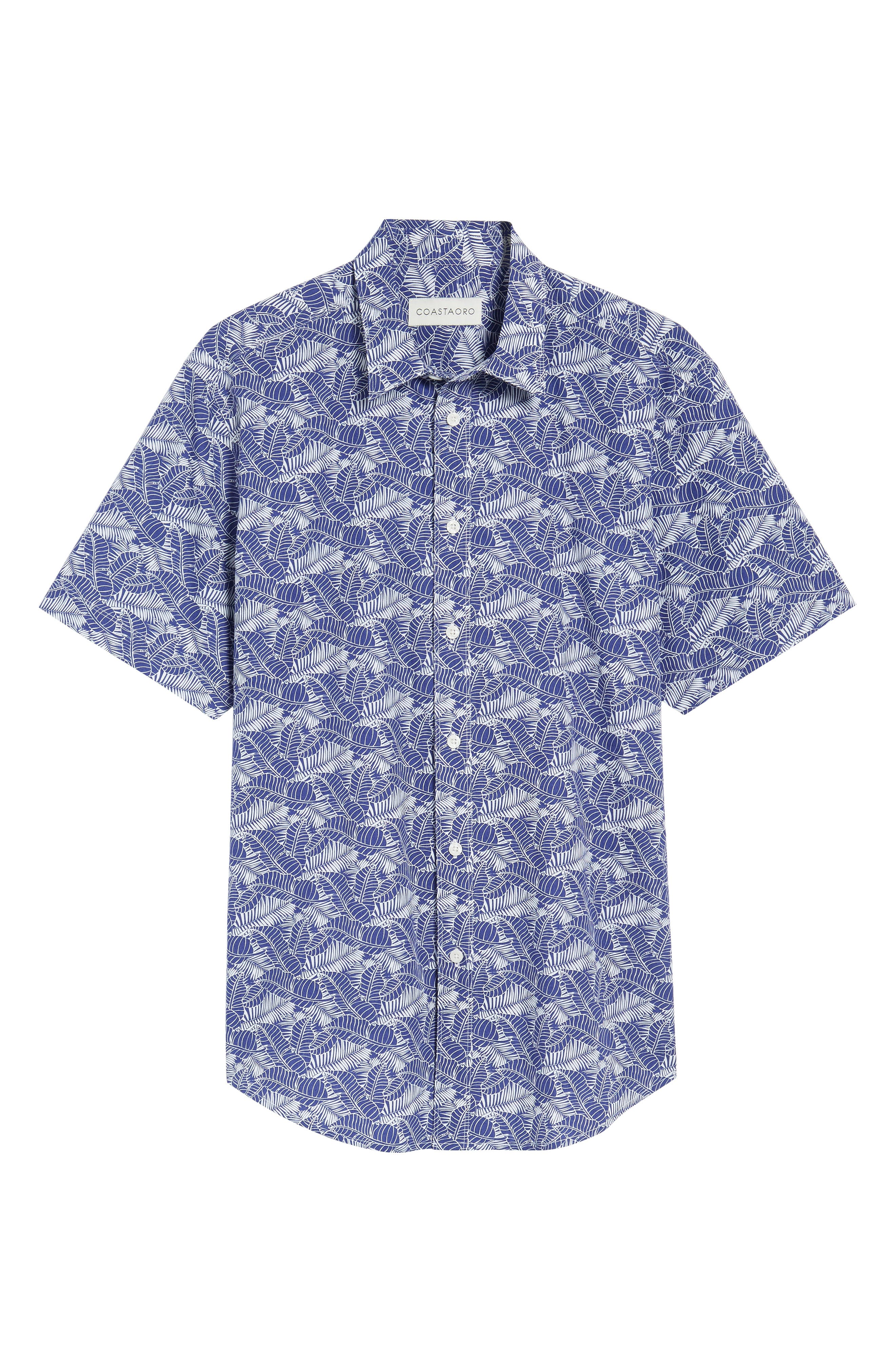 Lajoyas Regular Fit Palm Print Sport Shirt,                             Alternate thumbnail 6, color,                             Blue