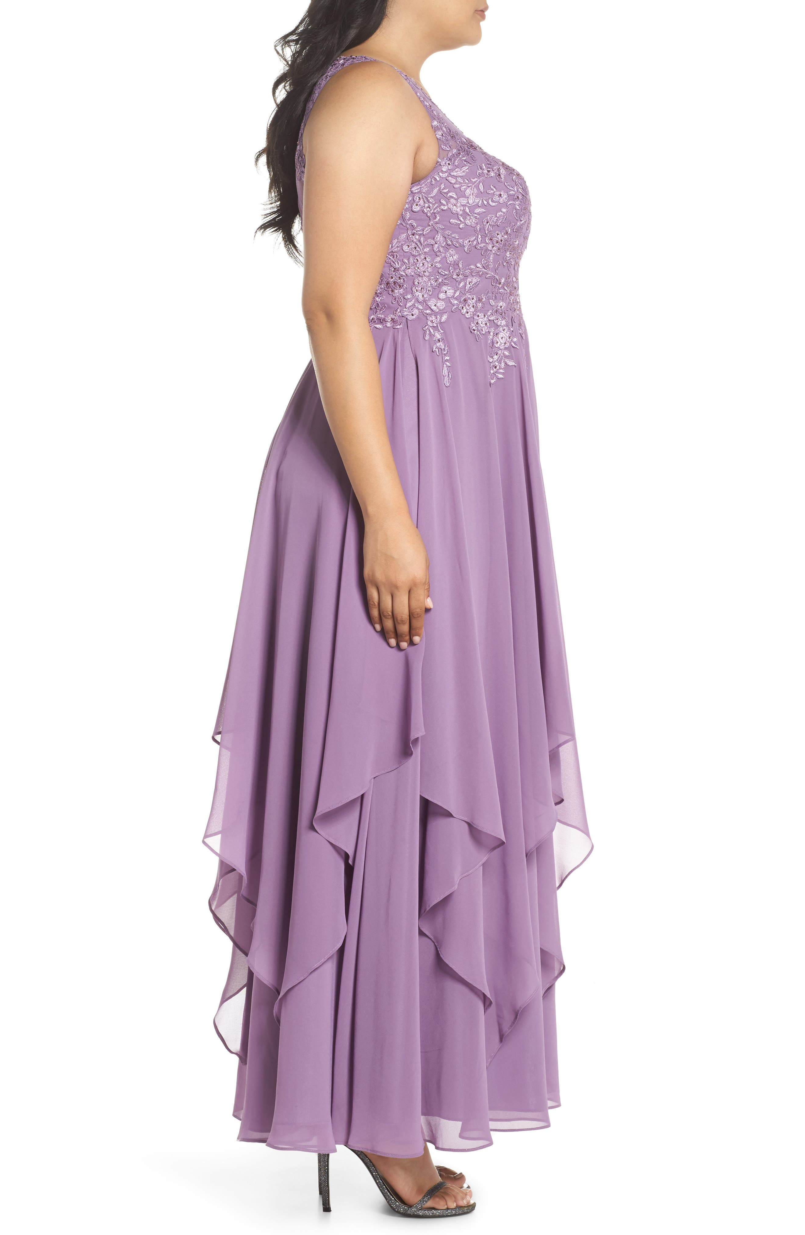 Embroidered Handkerchief Hem Gown,                             Alternate thumbnail 3, color,                             Lavender