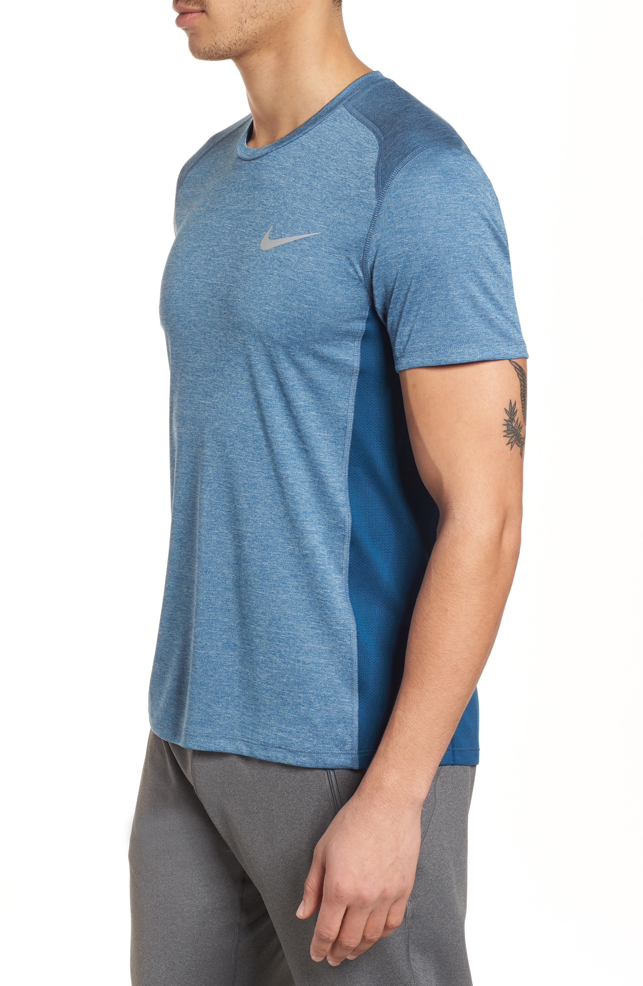 Dry Miler Running Top,                             Alternate thumbnail 3, color,                             Blue Force/ Heather