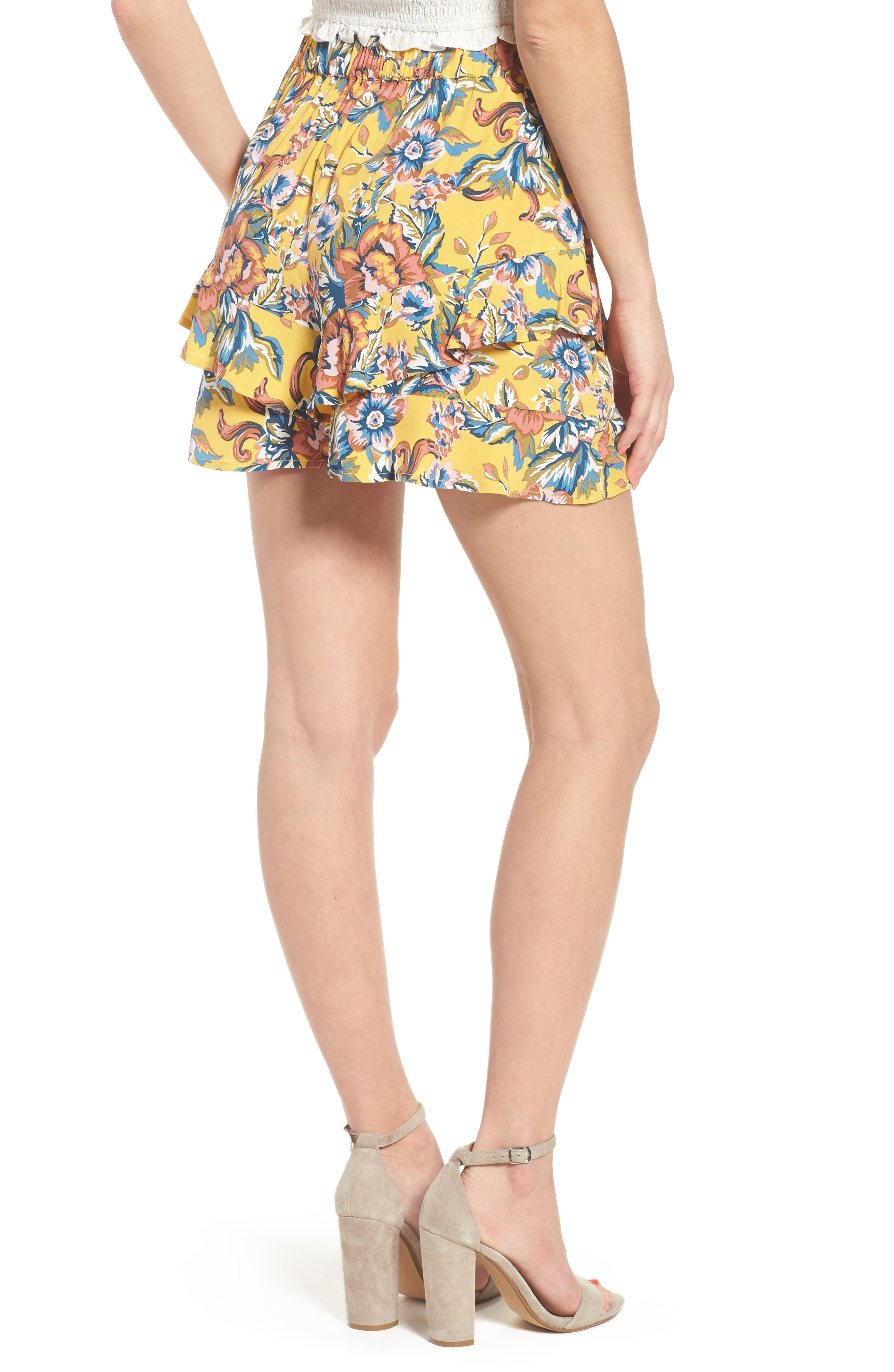 Print Ruffle Shorts,                             Alternate thumbnail 3, color,                             Yellow Ochre Tapestry Floral