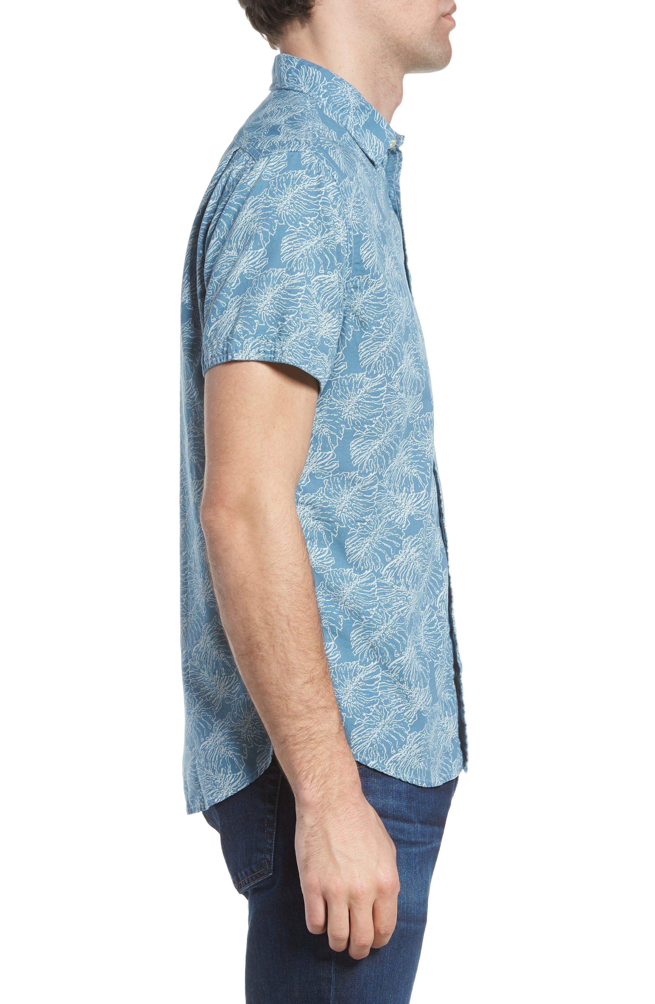 Leaf Print Short Sleeve Sport Shirt,                             Alternate thumbnail 4, color,                             Moonnight Blue