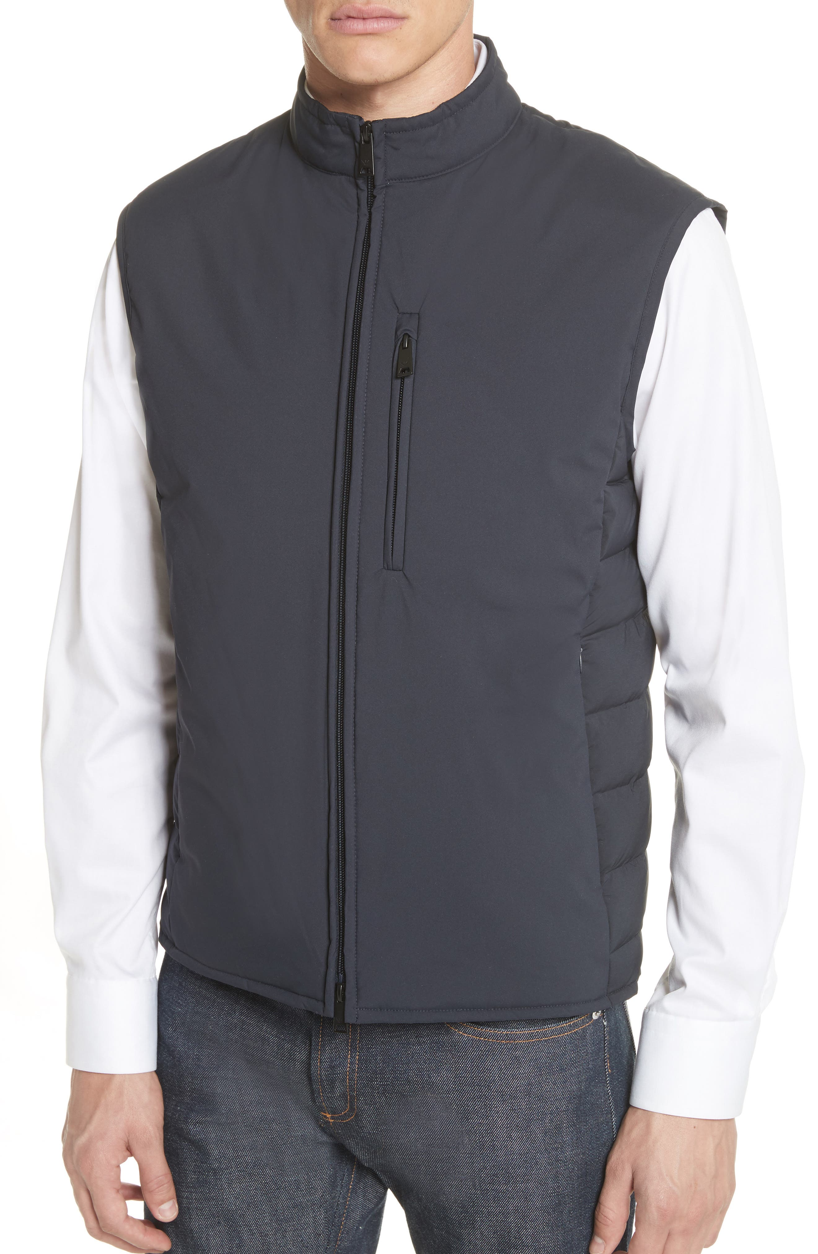 Quilted Microfiber Vest,                             Alternate thumbnail 4, color,                             Navy