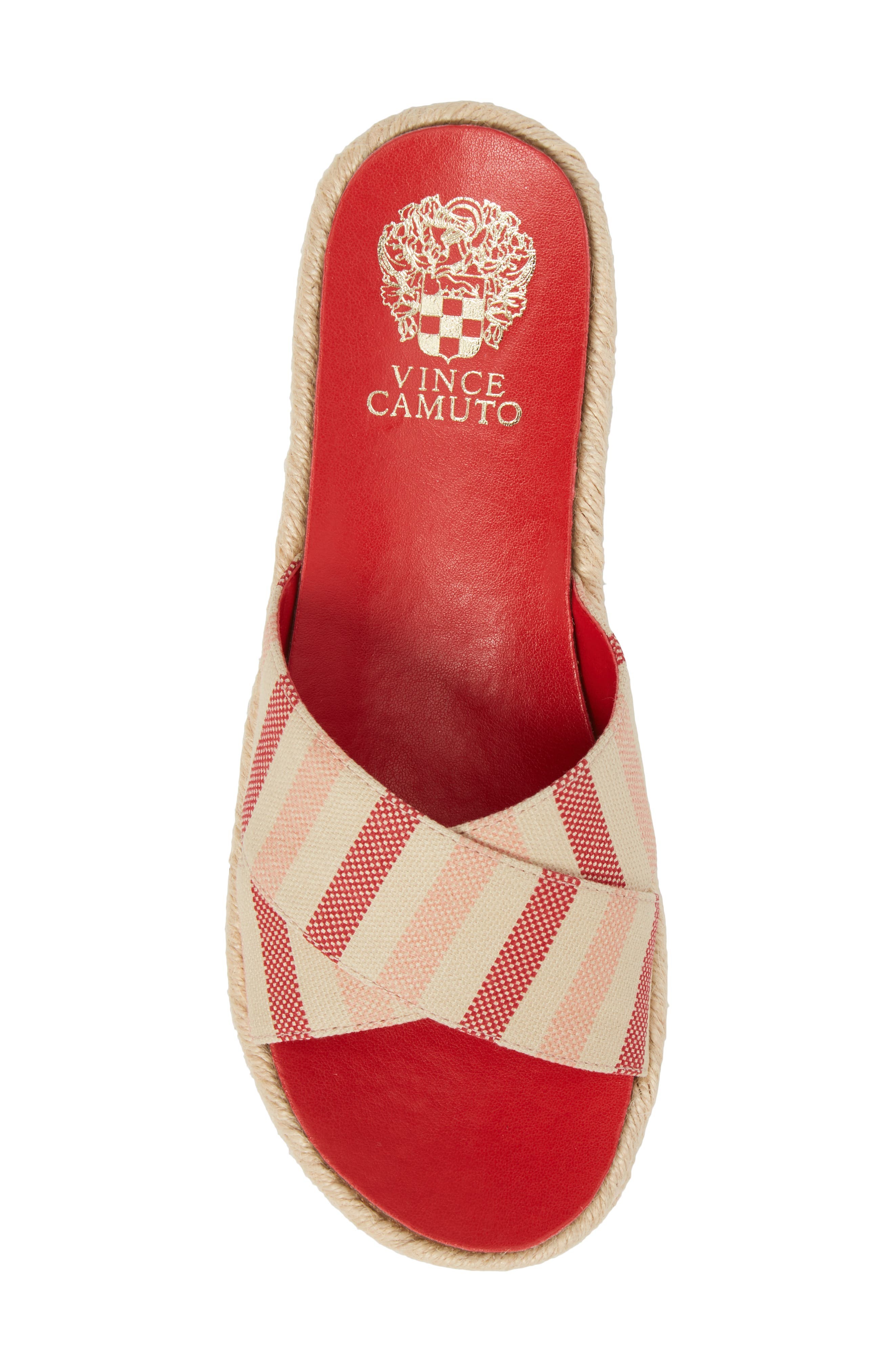 Carran Platform Sandal,                             Alternate thumbnail 5, color,                             Red Hot Rio Stripe Canvas
