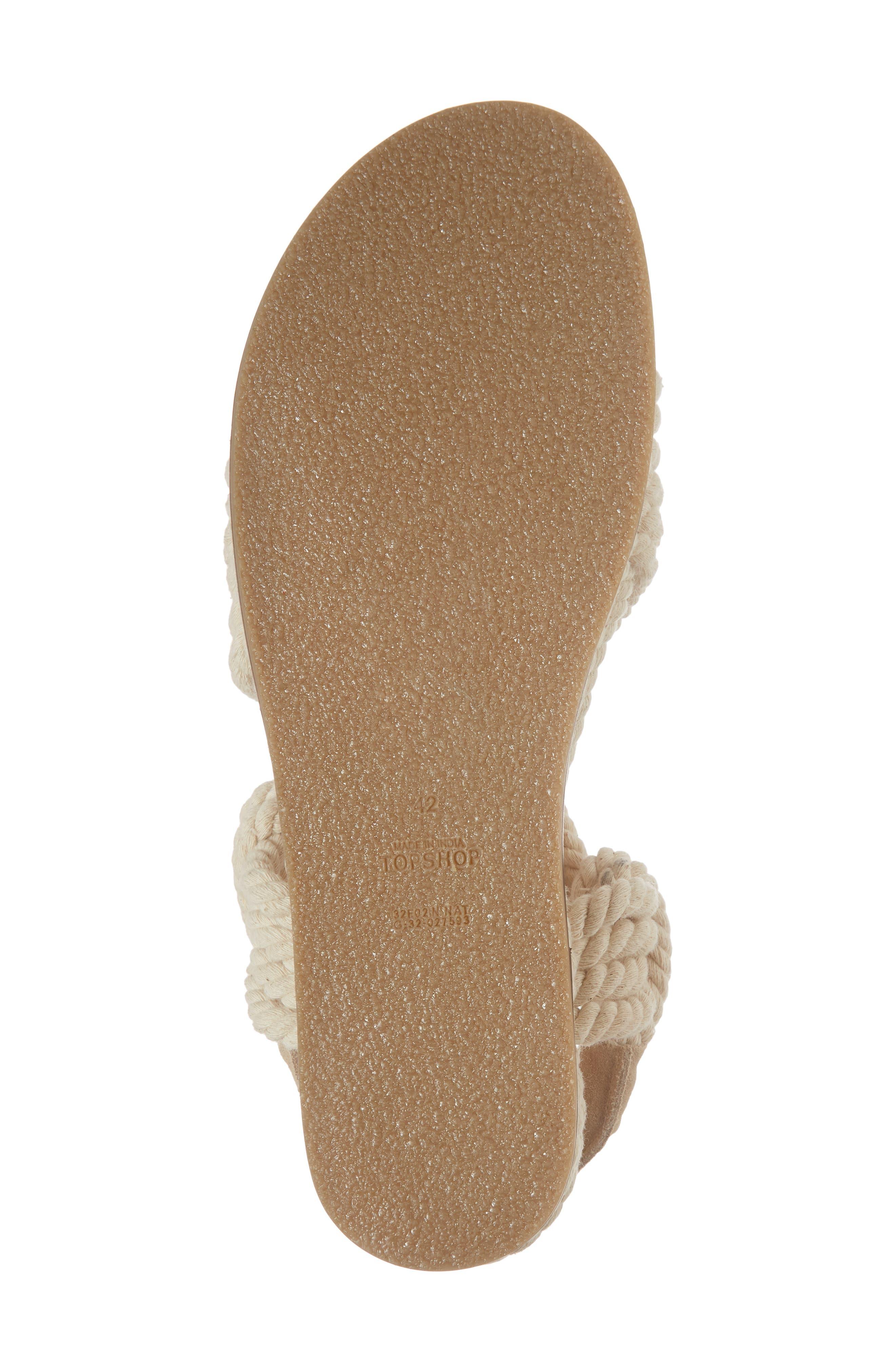 Fiesta Rope Flat Sandal,                             Alternate thumbnail 6, color,                             Nude