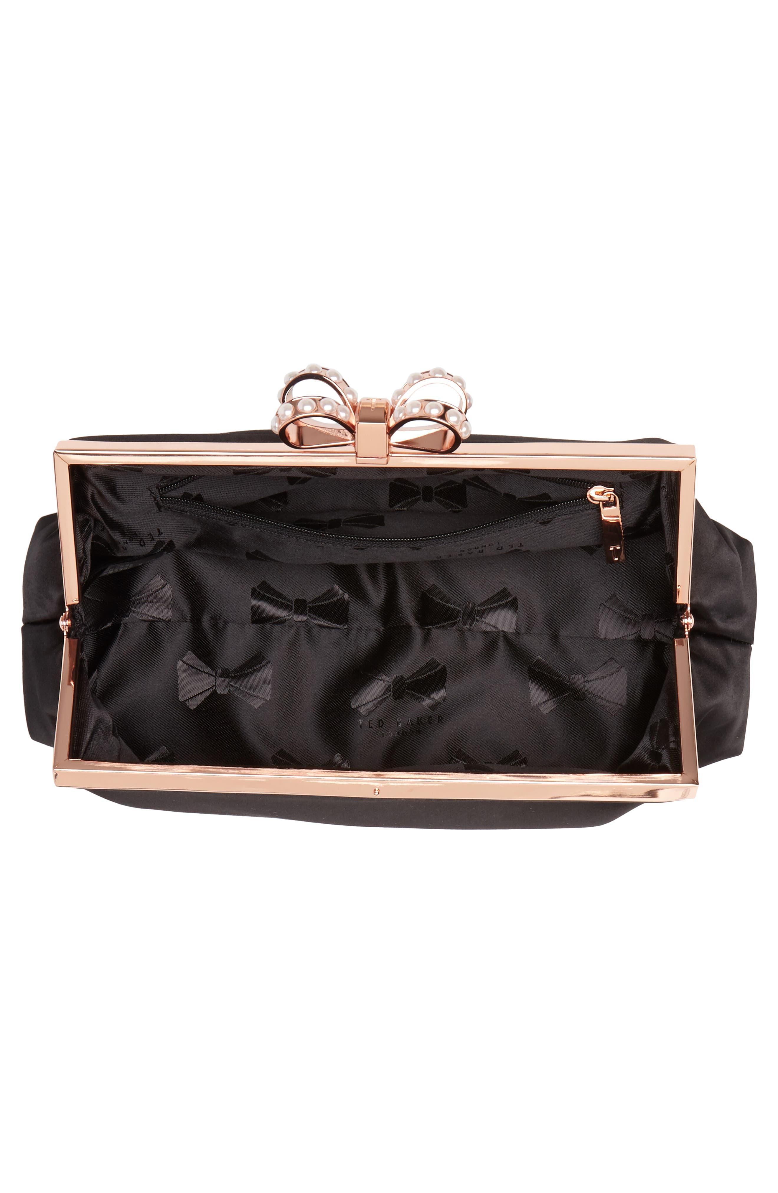 Georgaa Bow Clasp Evening Bag,                             Alternate thumbnail 4, color,                             Black