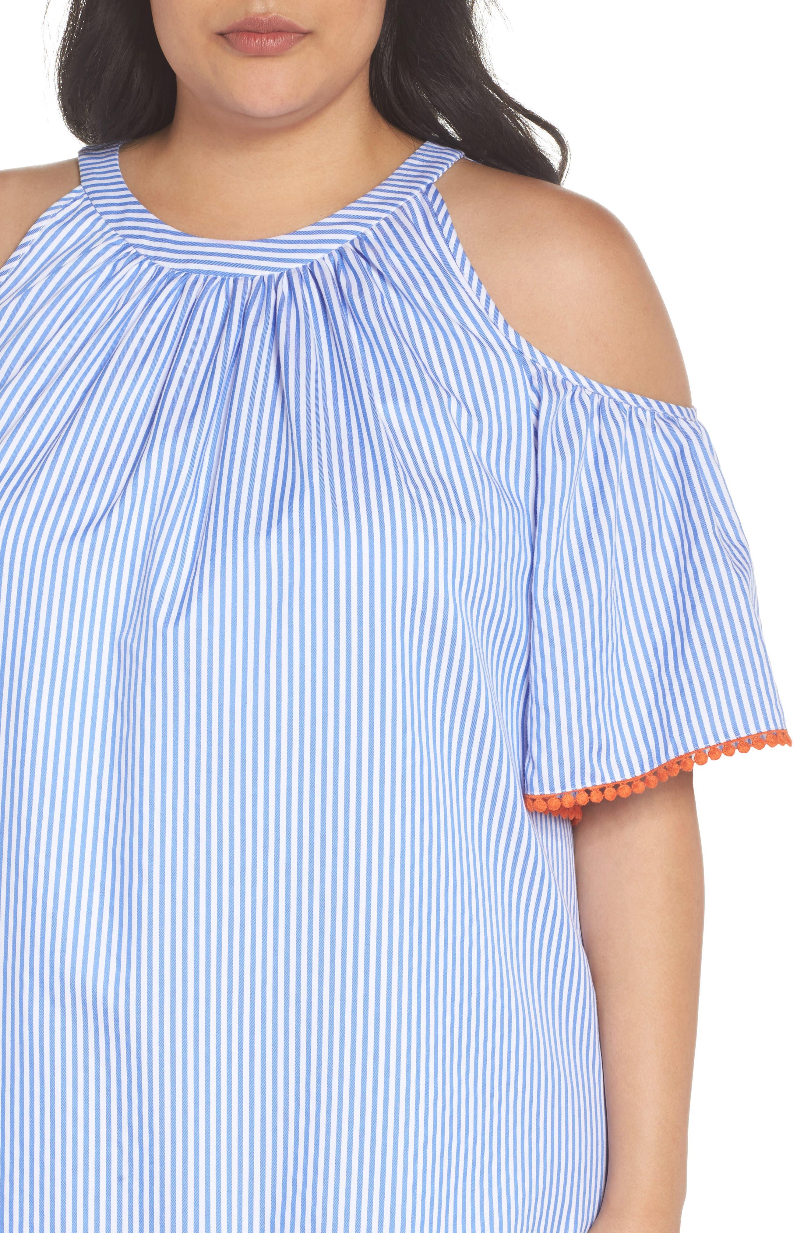 Embroidered Stripe Cold Shoulder Shift Dress,                             Alternate thumbnail 4, color,                             Blue/ White/ Orange