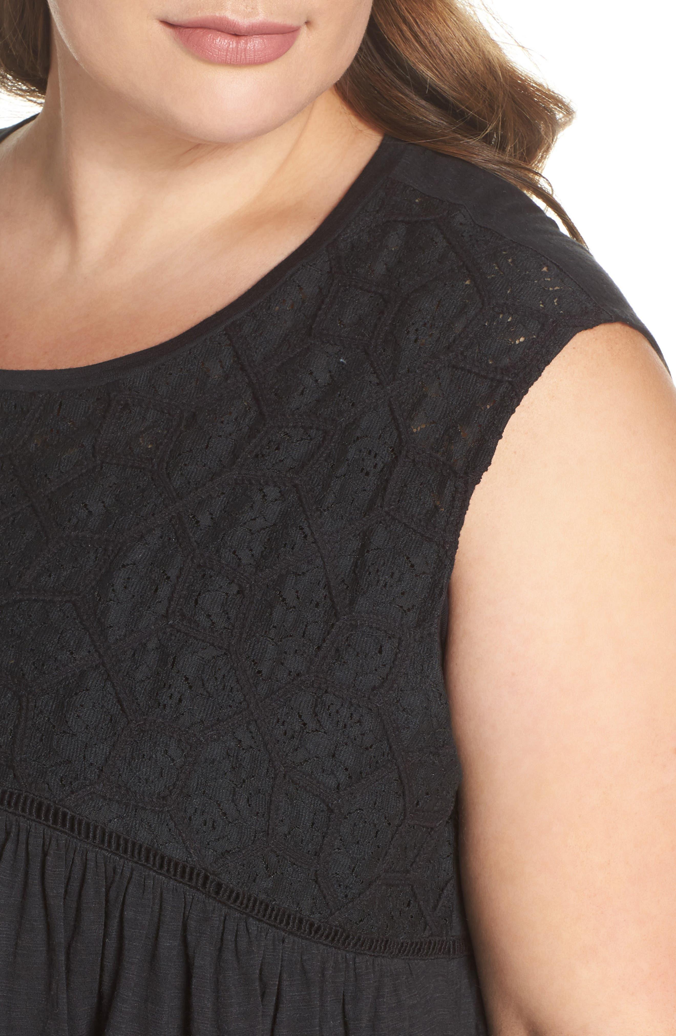 Mix Lace Knit Tank,                             Alternate thumbnail 6, color,                             Black