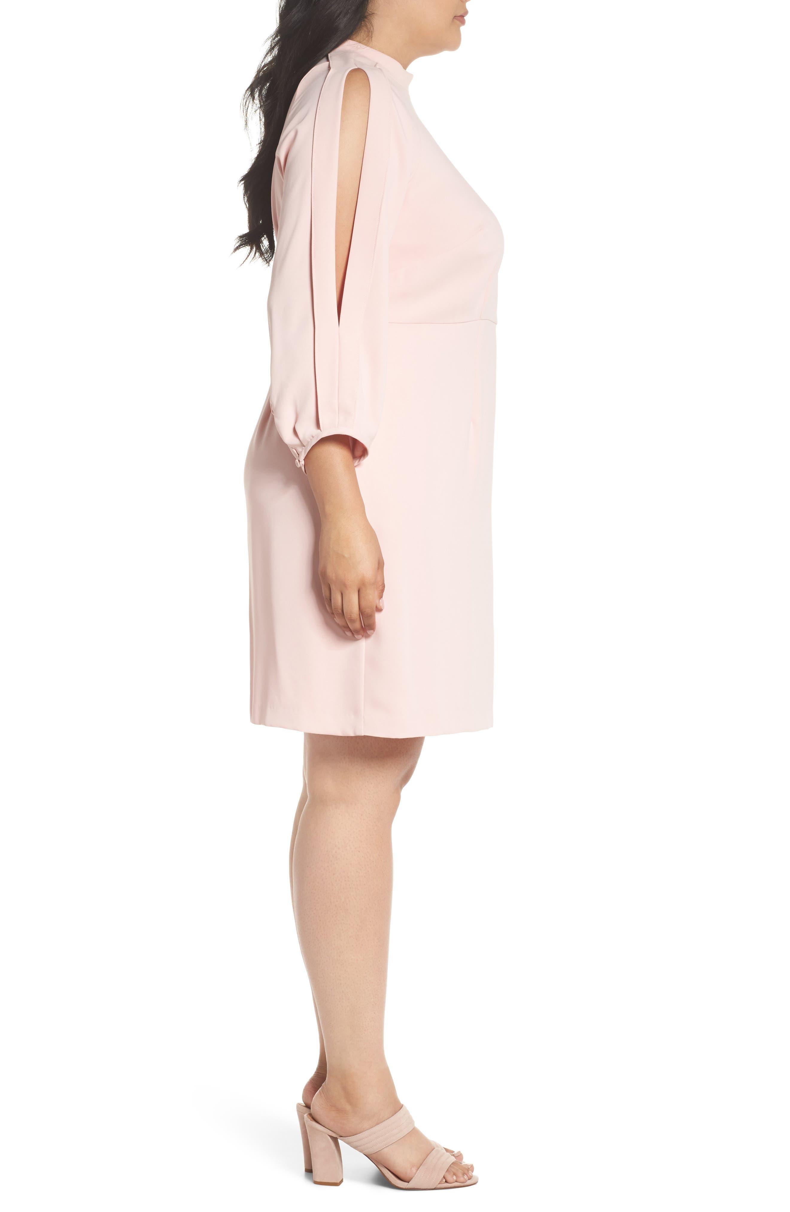 Mock Neck Split Sleeve Dress,                             Alternate thumbnail 3, color,                             Pink Primrose