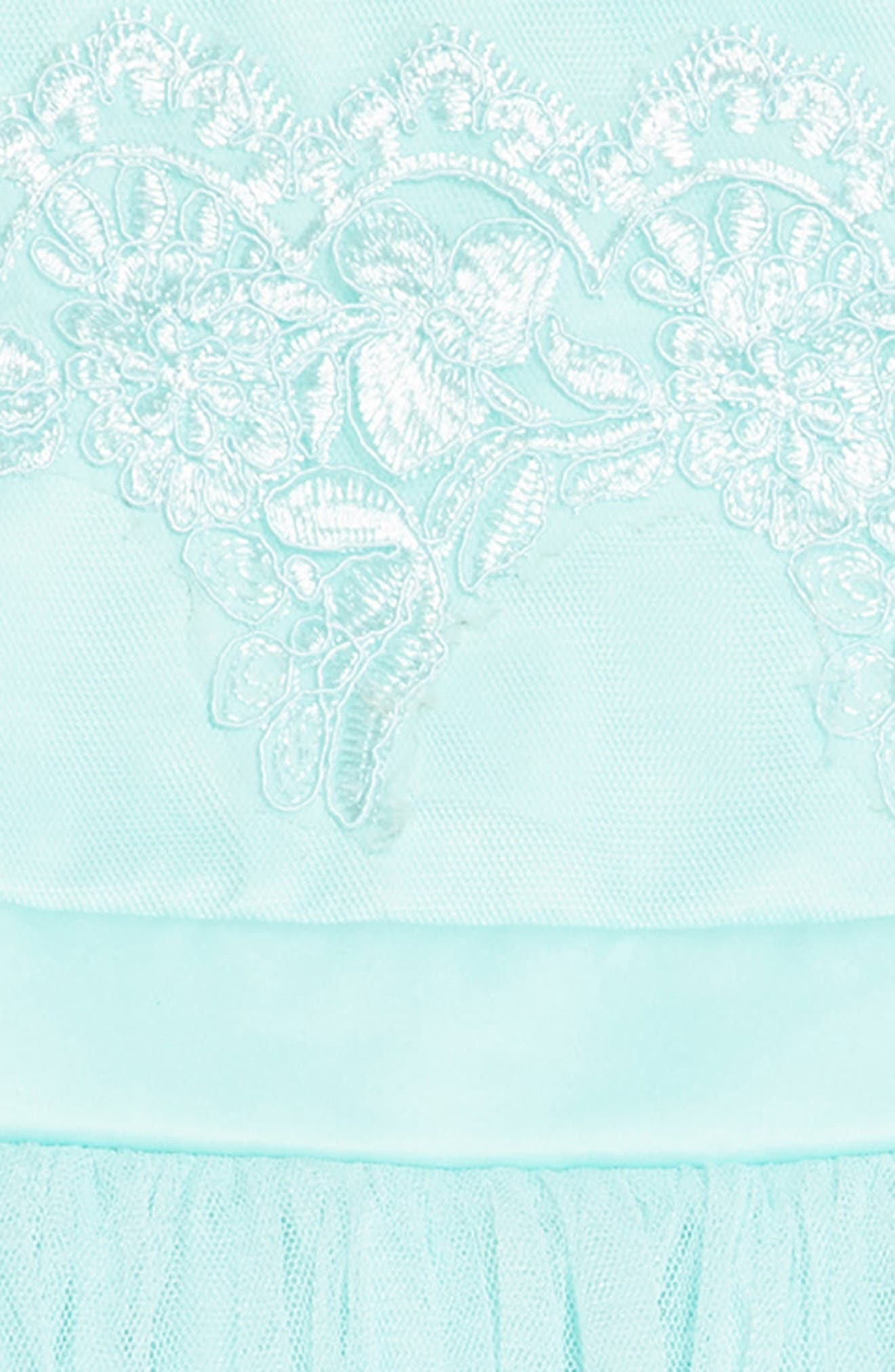 Tulle & Lace Party Dress,                             Alternate thumbnail 3, color,                             Aqua